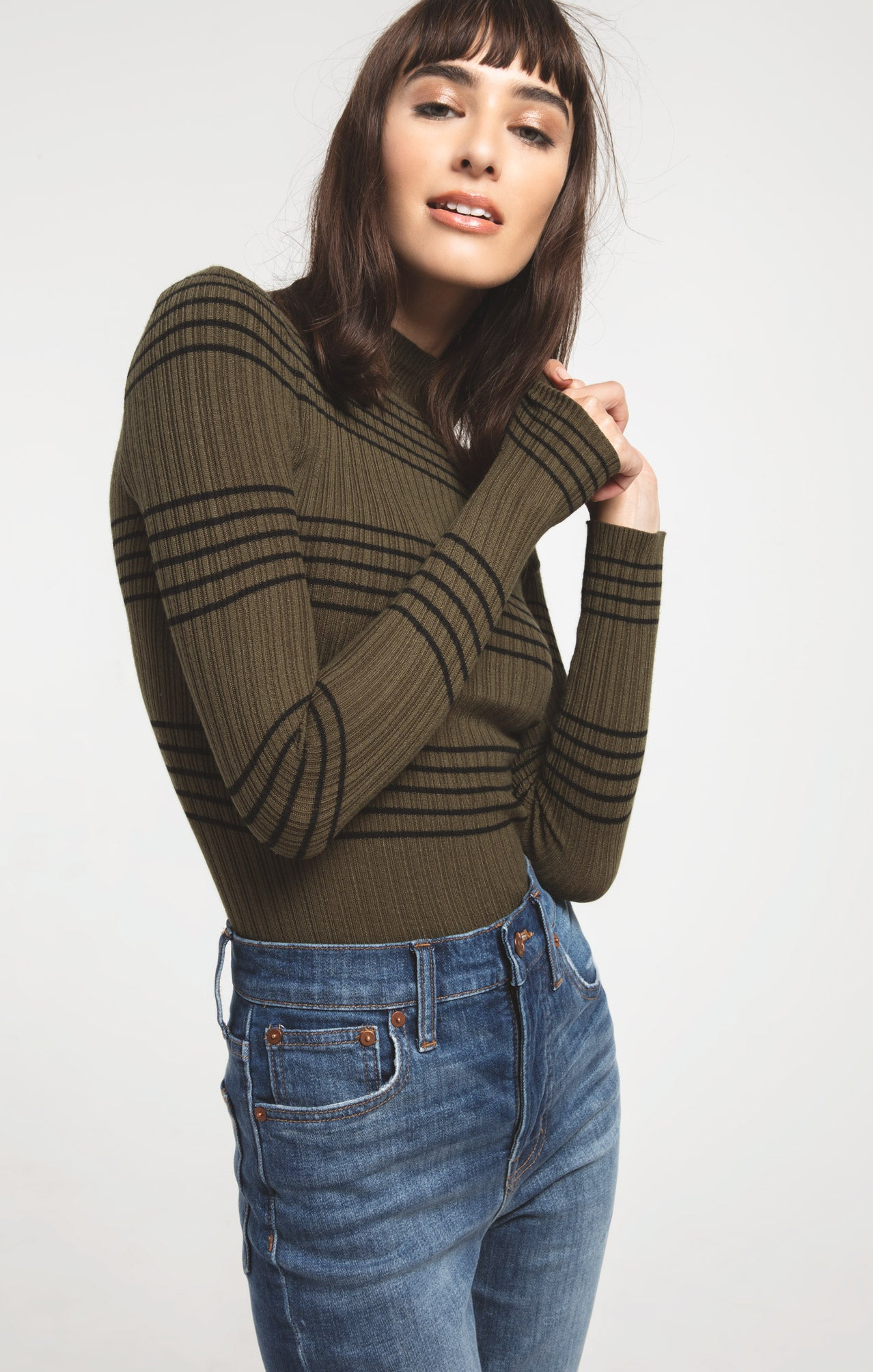 Sweaters Linden Stripe Mock Neck Sweater By Rag Poets Olive Night