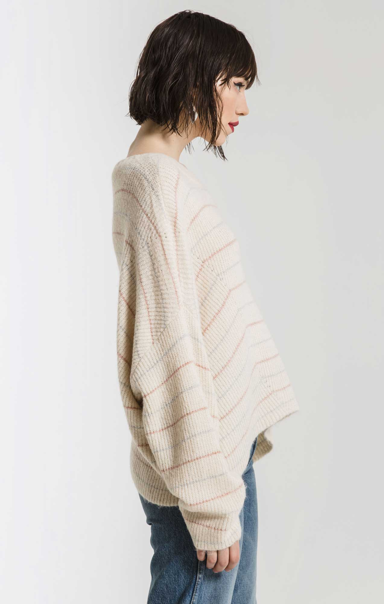 Sweaters Anna Striped Crew Neck Sweater By Rag Poets Ivory