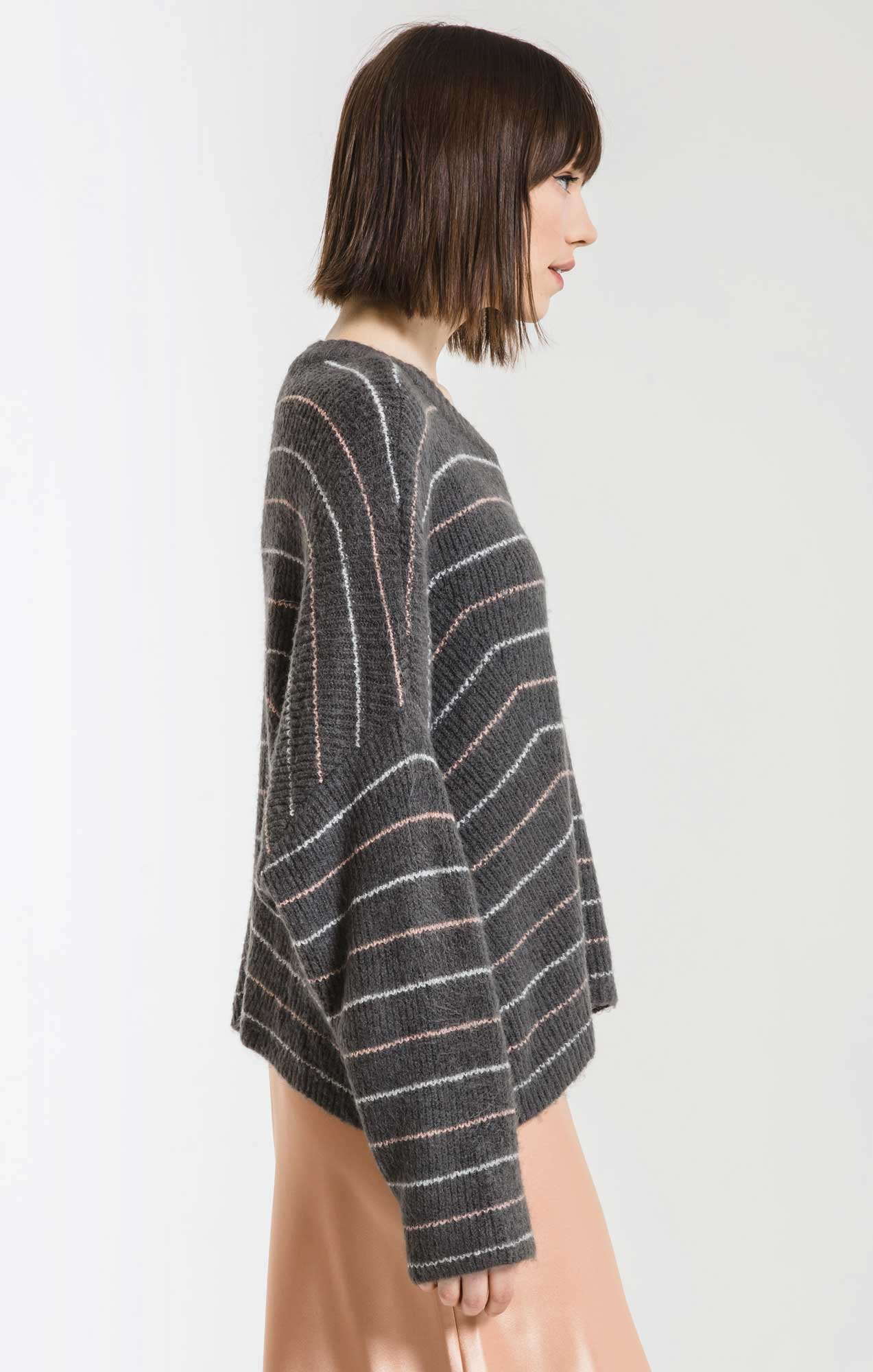 Sweaters Anna Striped Crew Neck Sweater By Rag Poets Magnet