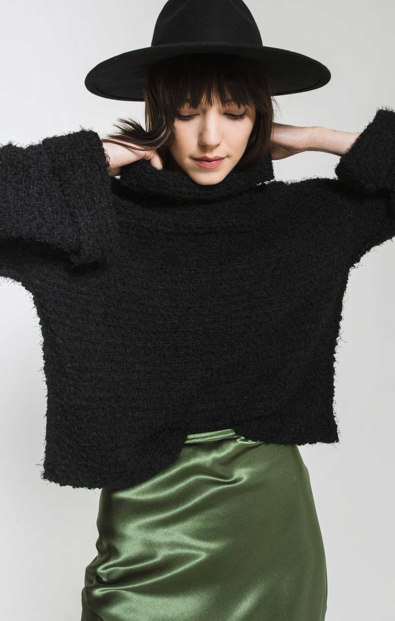 Sweaters Freja Cowl Turtleneck Sweater By Rag Poets Black
