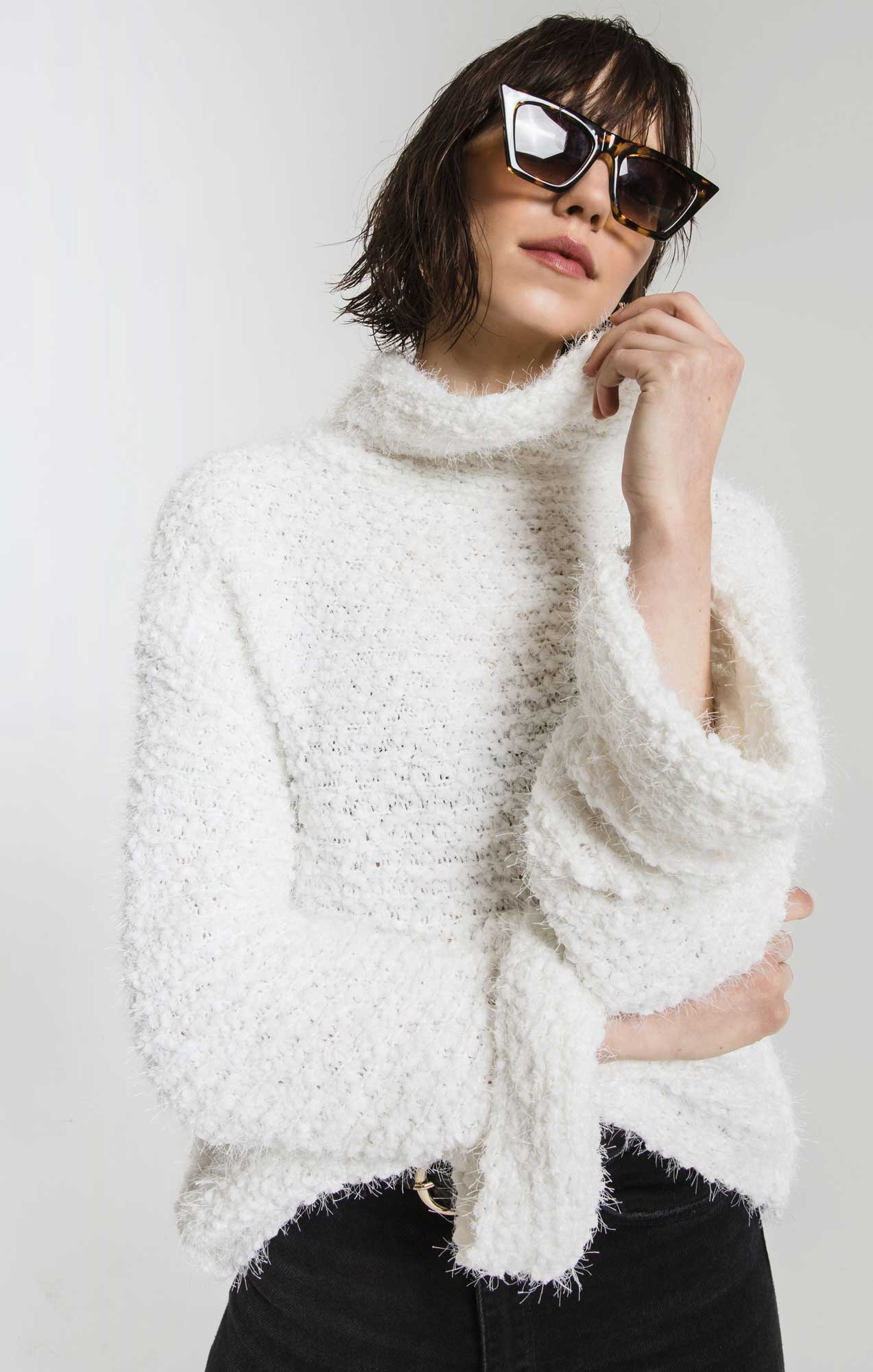 Sweaters Freja Cowl Turtleneck Sweater By Rag Poets Snow White