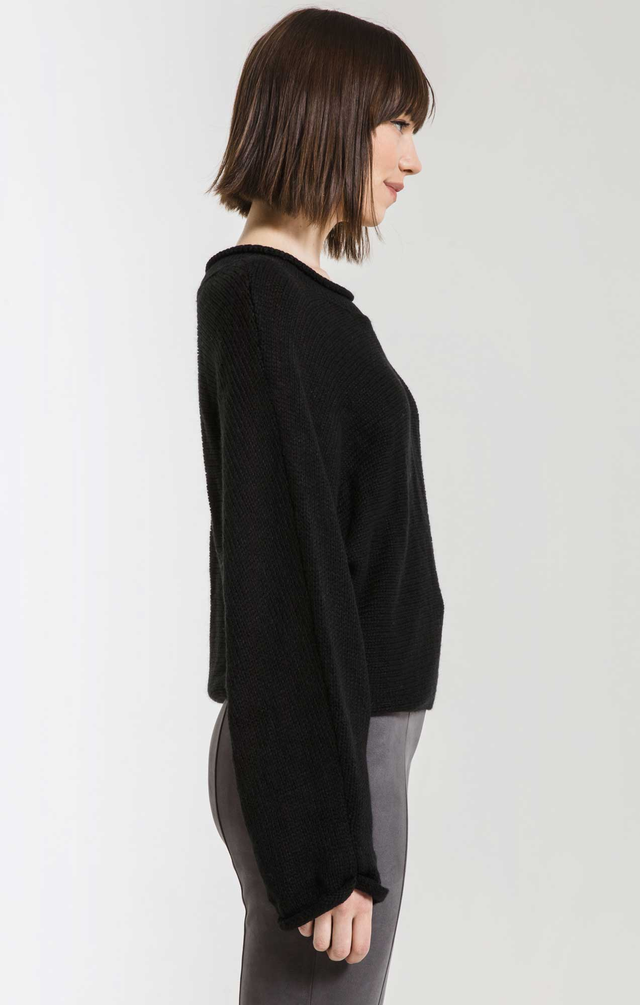 Sweaters Alberte Cropped Dolman Sweater By Rag Poets Black