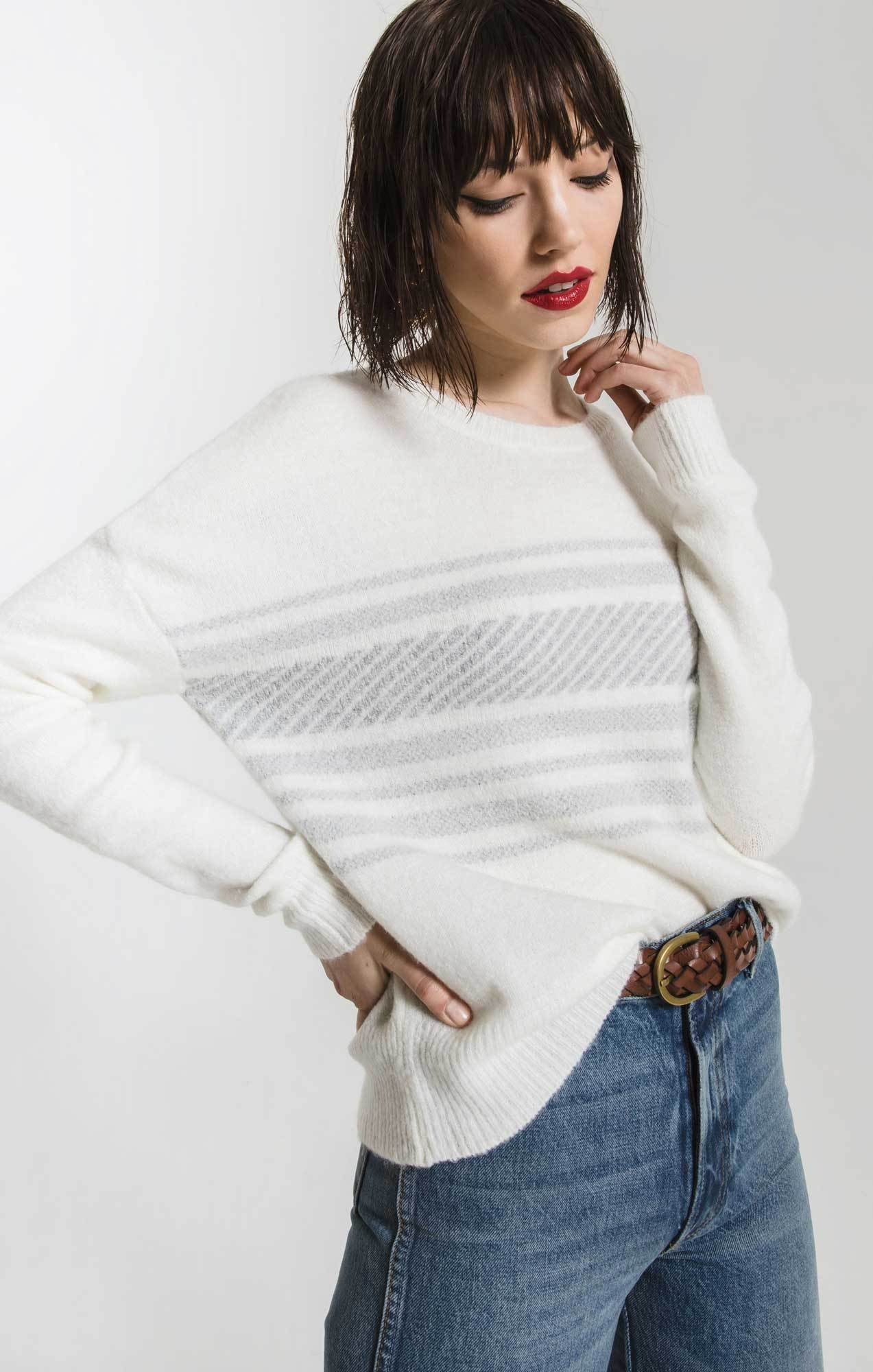 Sweaters Rebekka Striped Sweater By Rag Poets Snow White