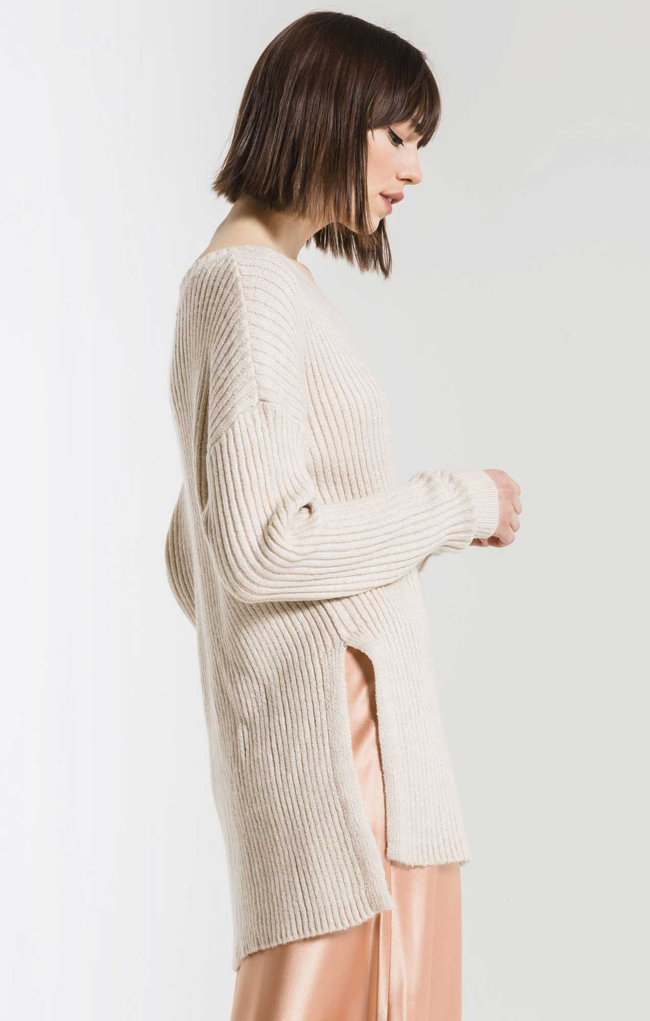 Sweaters Laura Slit Tunic Sweater By Rag Poets Ivory