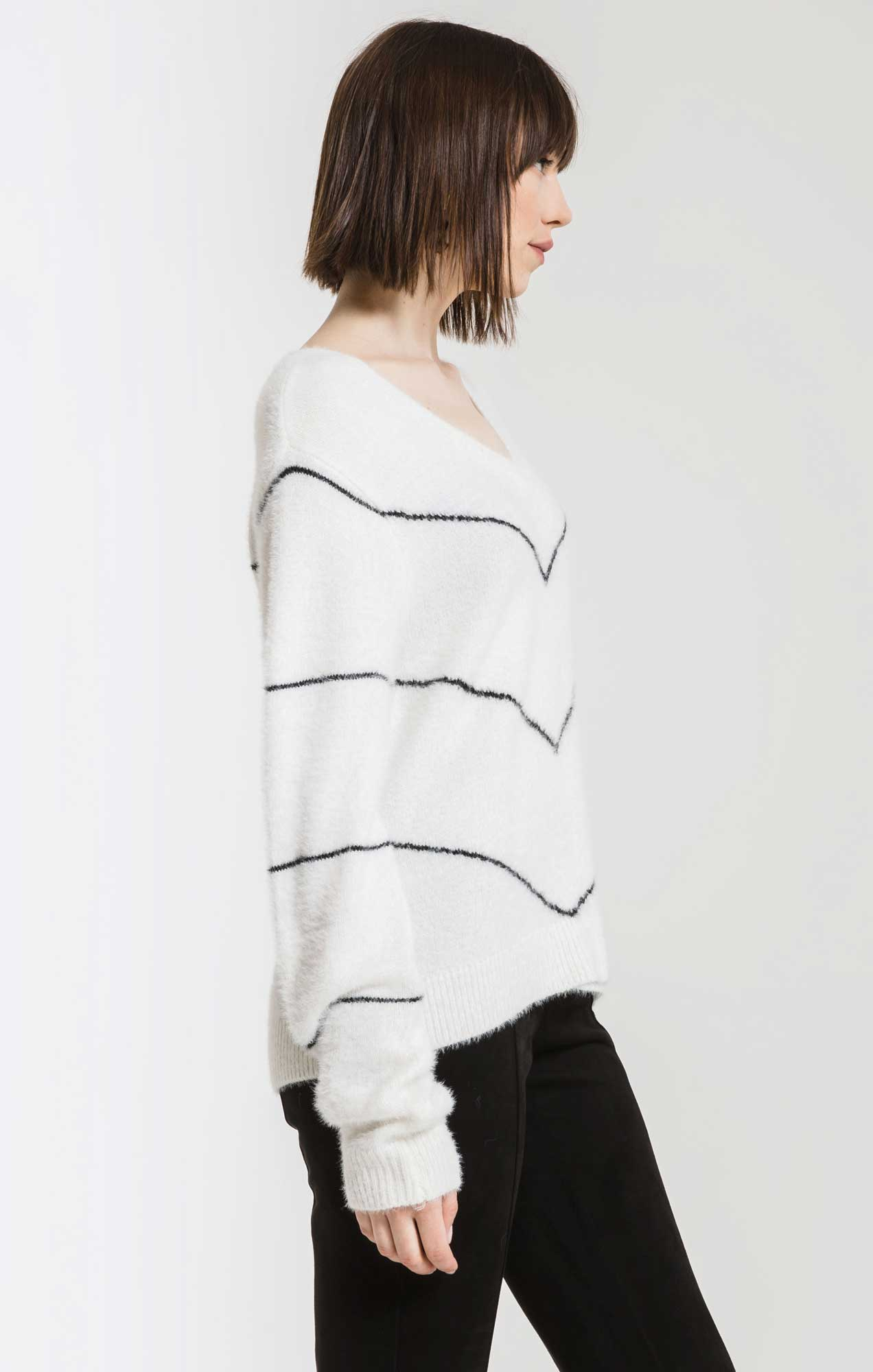 Sweaters Melanie Chevron Stripe Sweater By Rag Poets Snow White