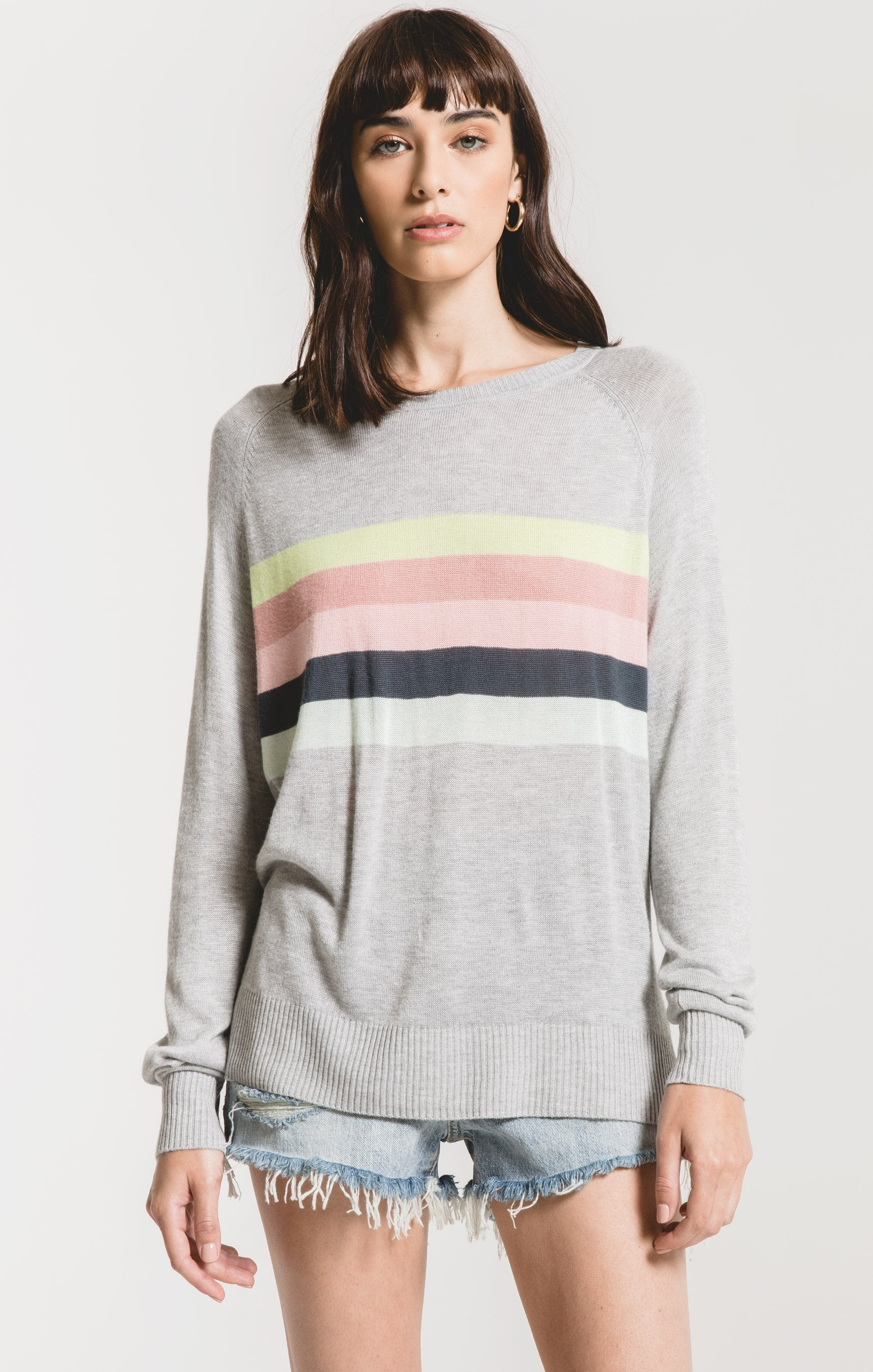 Sweaters Salerno Multi-Stripe Sweater by Rag Poets Heather Grey