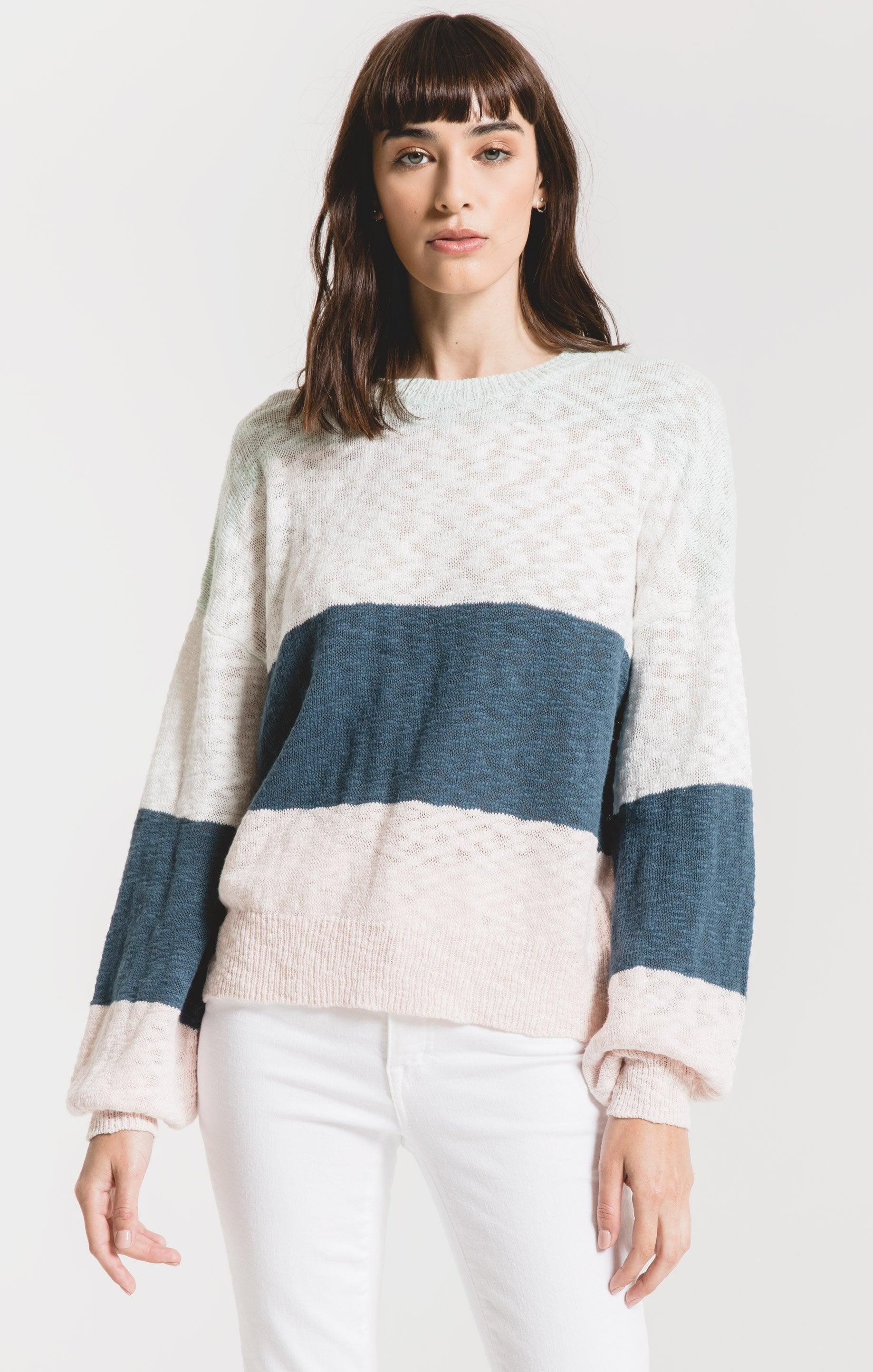 Sweaters Monterosso Colorblock Sweater by Rag Poets Indian Teal