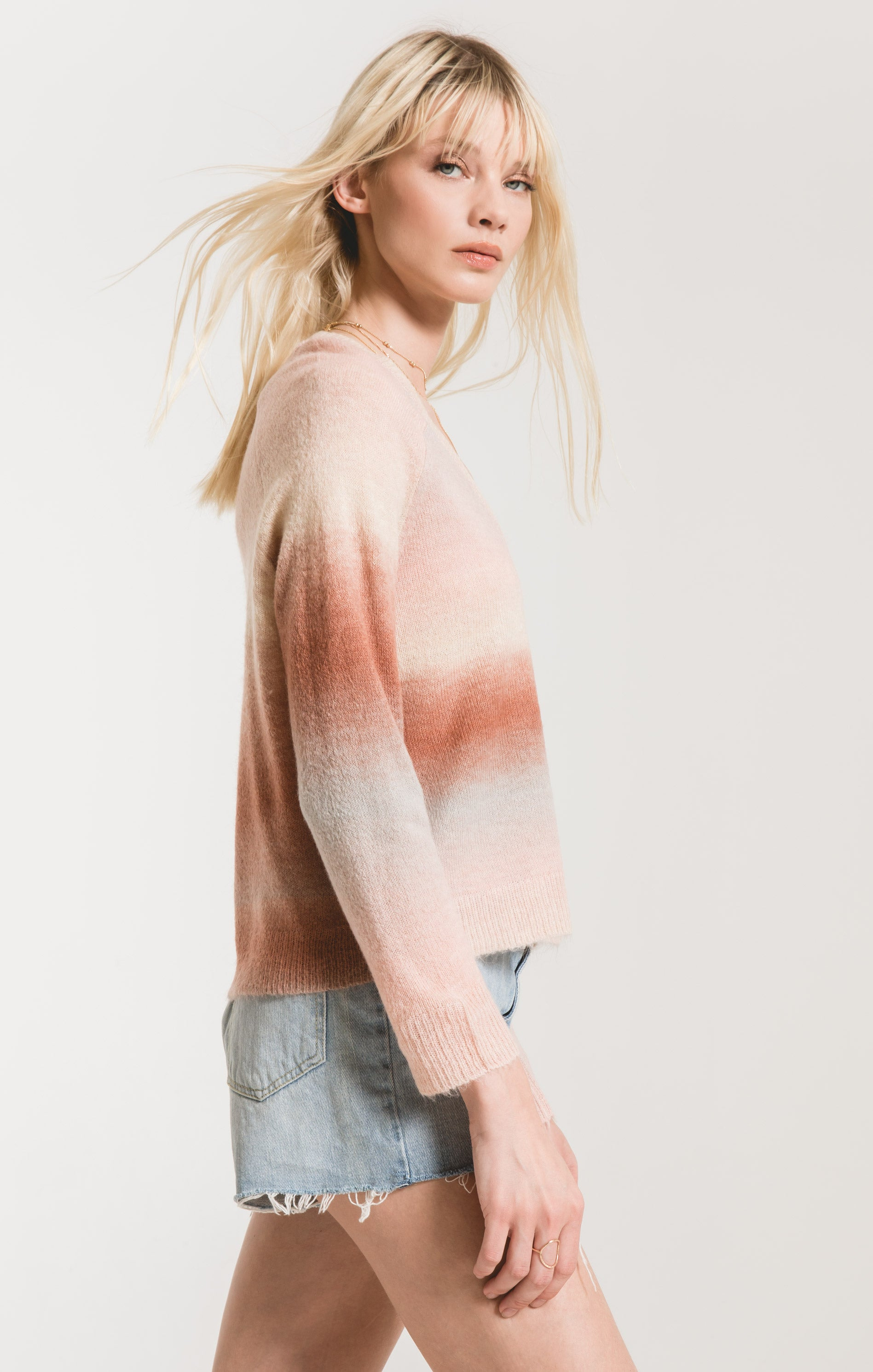 Sweaters Capri Ombre Sweater by Rag Poets Powder Pink