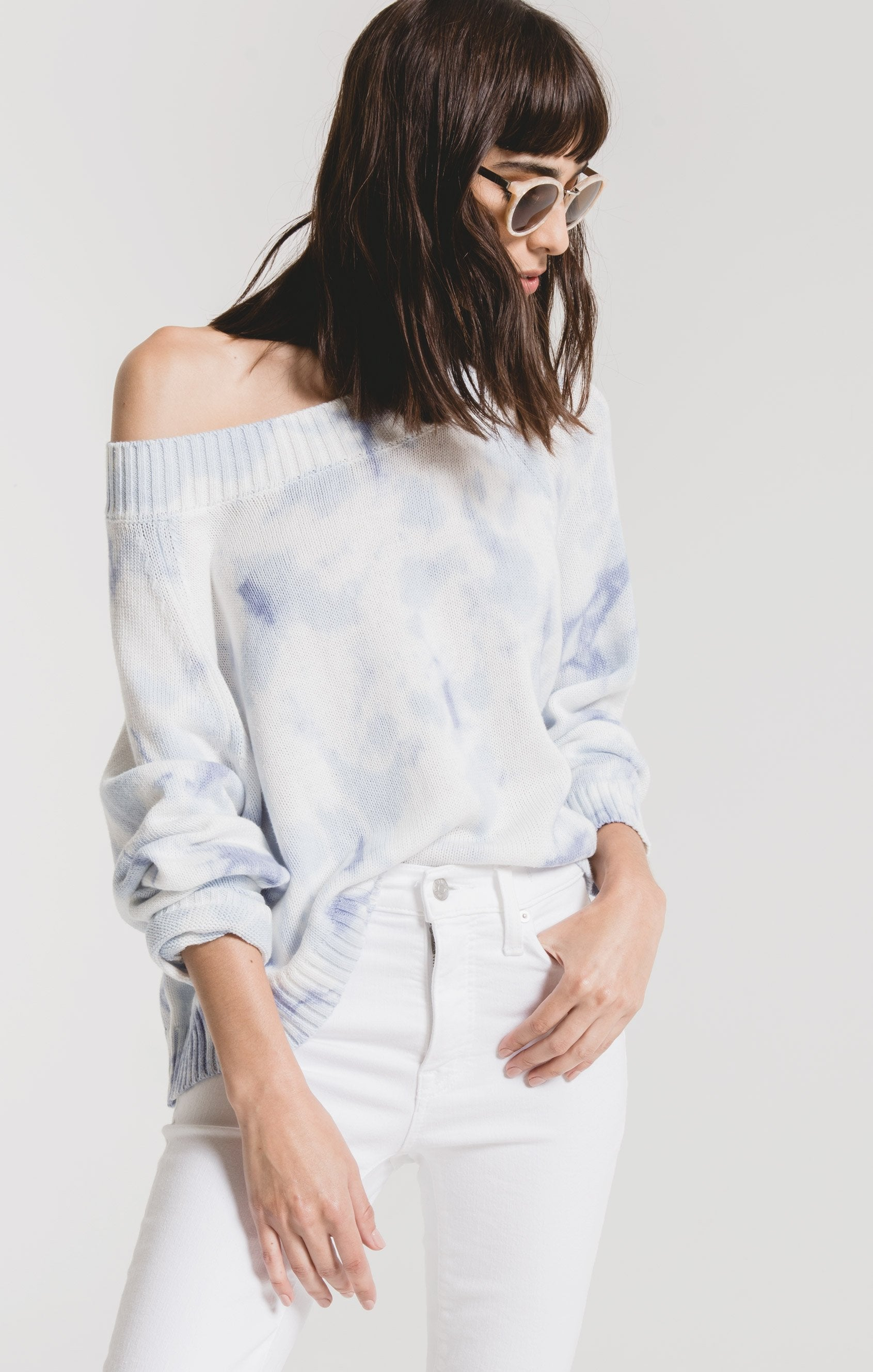 Sweaters Rimini Tie-Dye Sweater by Rag Poets Soft Blue