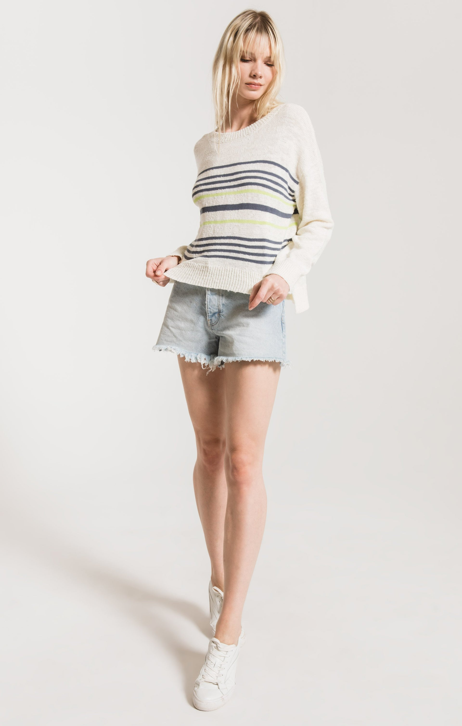 Sweaters Avelino Striped Sweater by Rag Poets Gardenia
