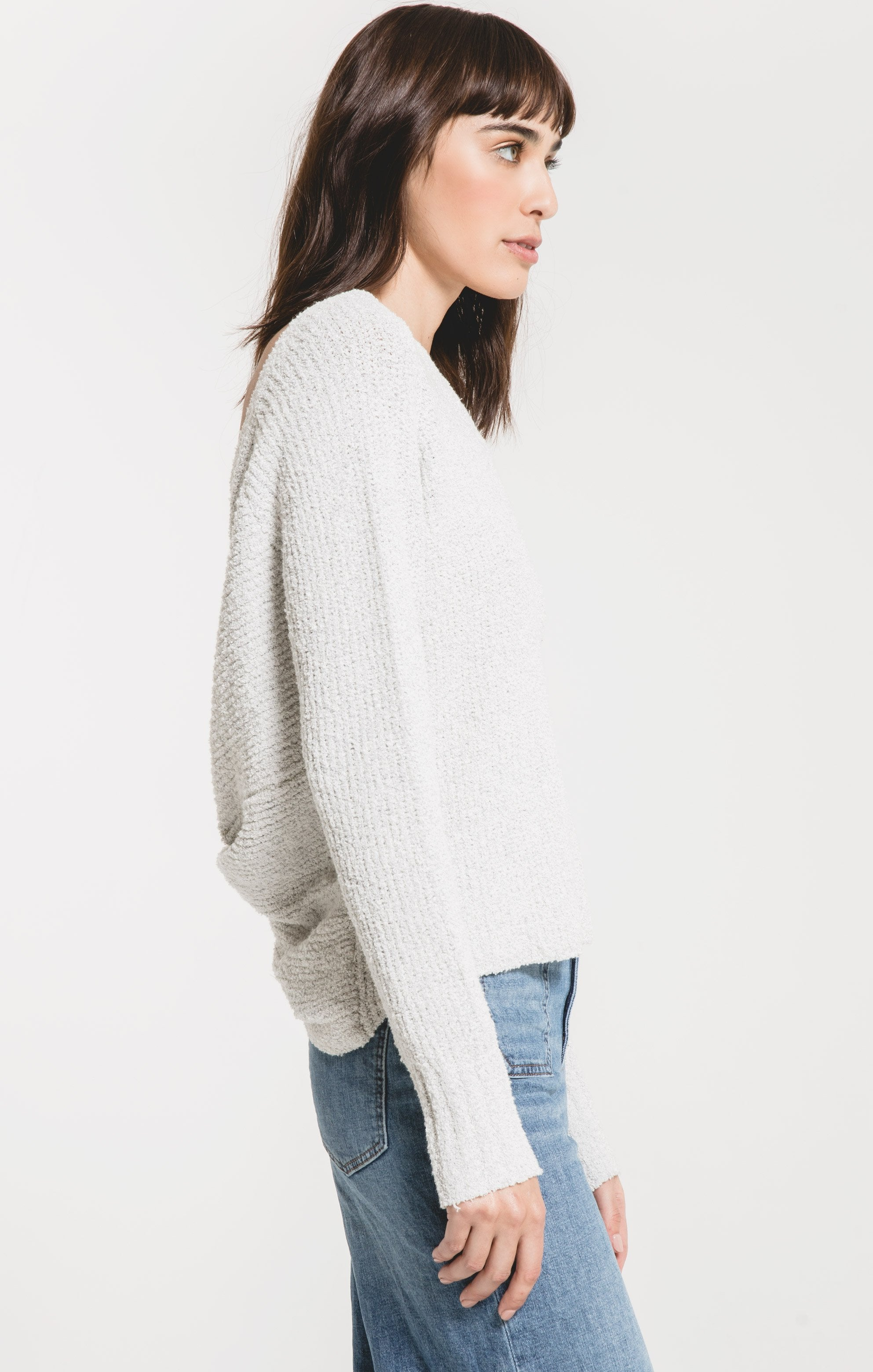 Sweaters San Remo Twist Back Sweater by Rag Poets Heather Grey