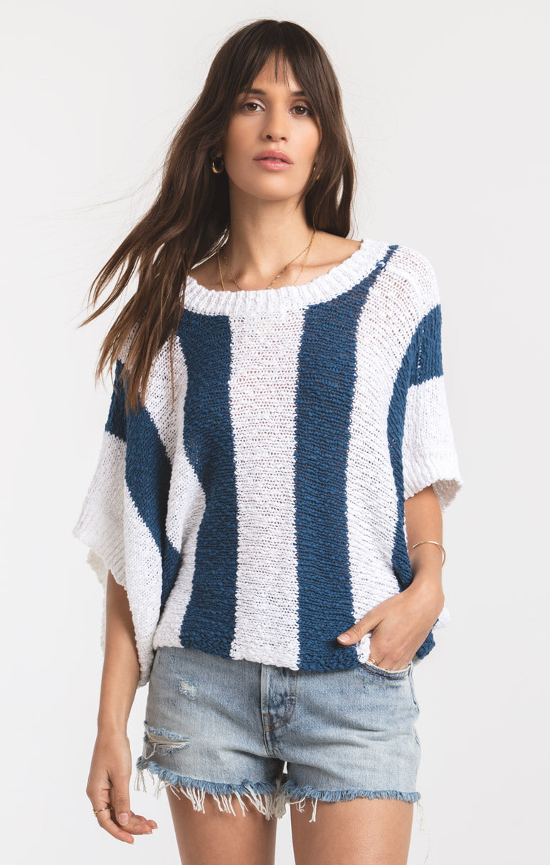 Tops Legian Knitwear Top by Rag Poets Dark Blue