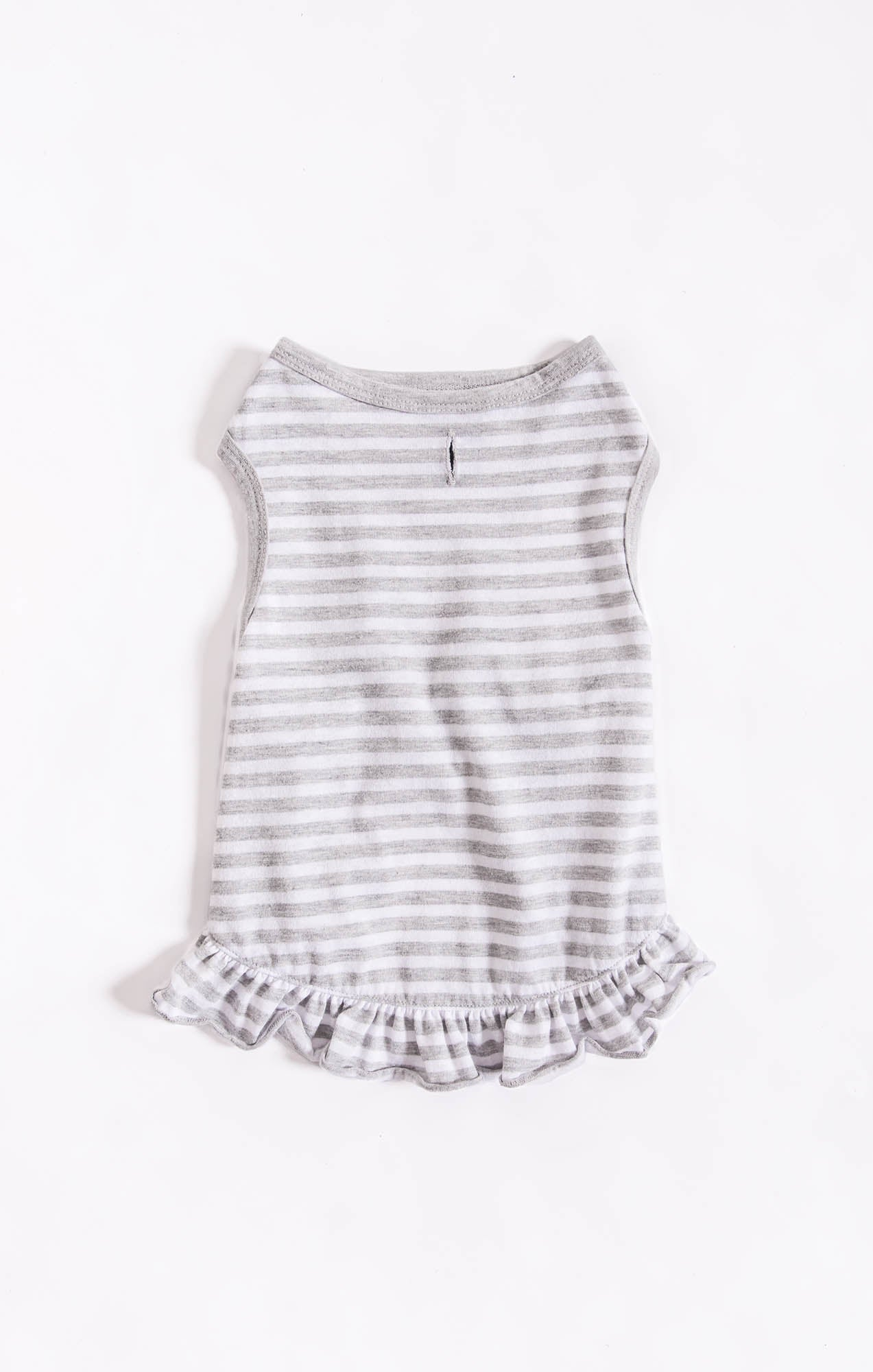 Tops The Striped Ruffle Top by ZOO SUPPLY Heather Grey/White