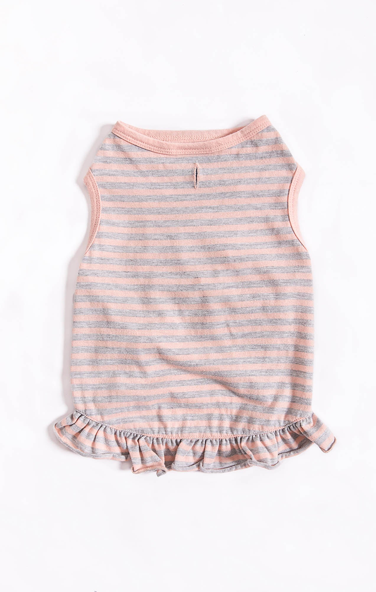 Tops The Striped Ruffle Top by ZOO SUPPLY Heather Grey/Pink Dust