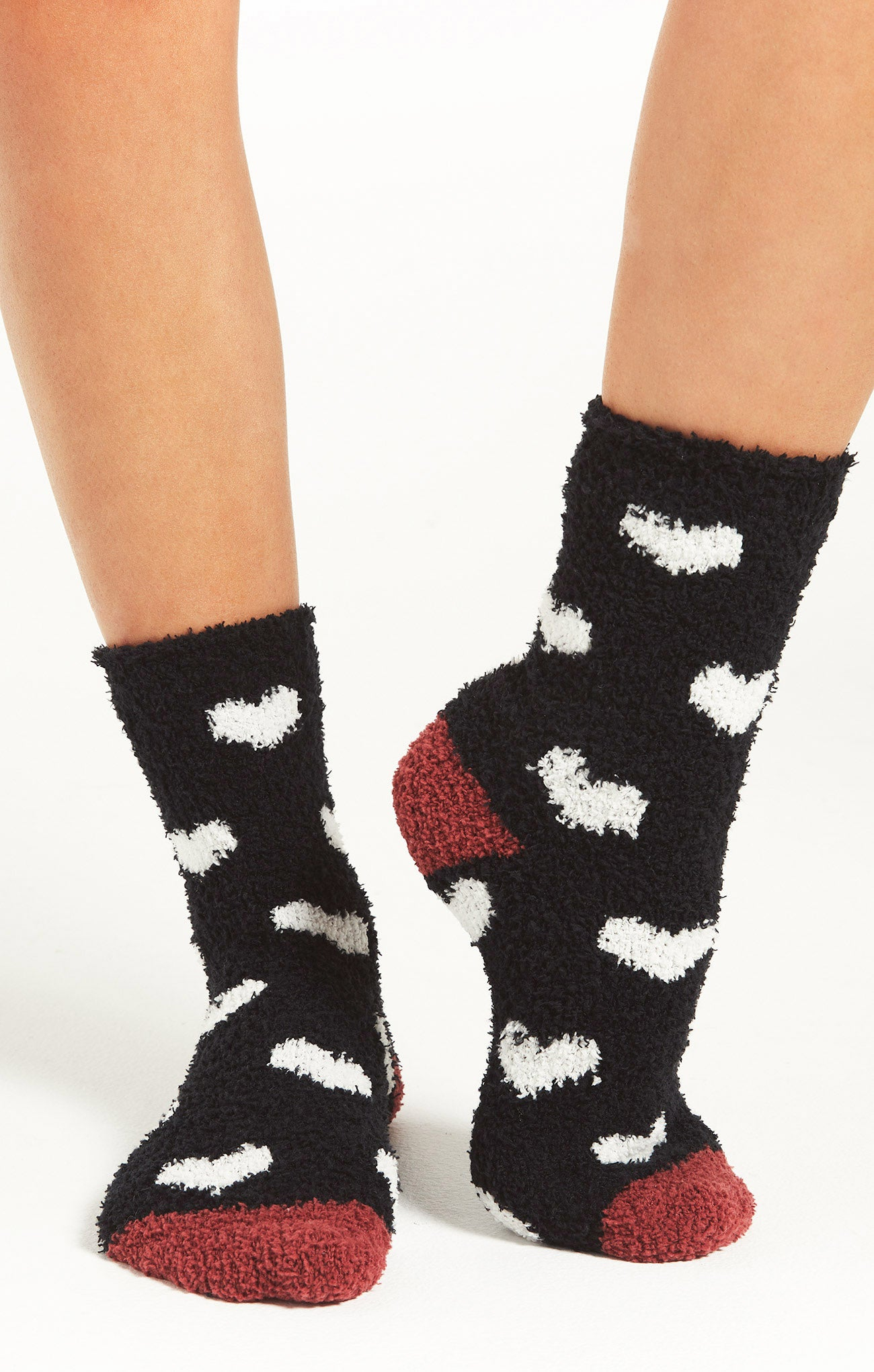 Accessories Heart Plush Socks Black