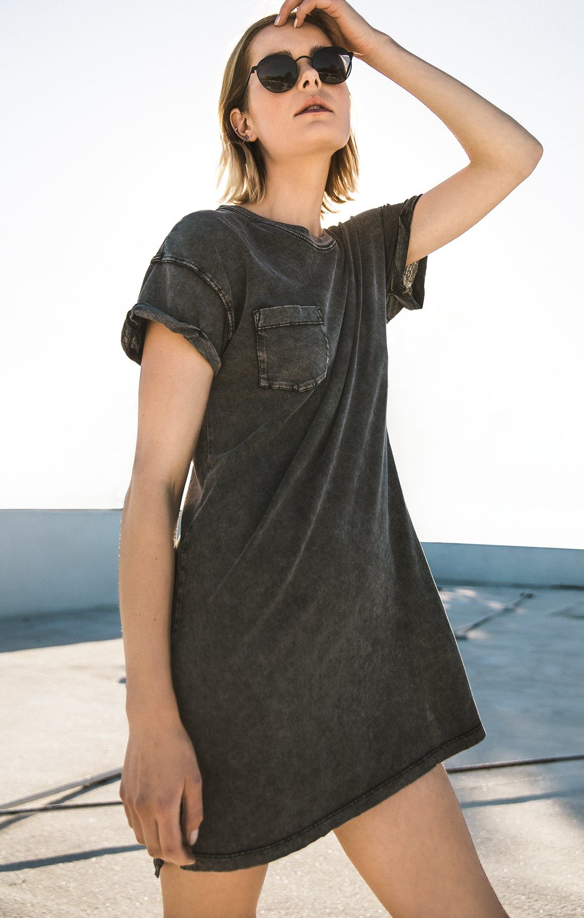 Dresses The Washed Cotton T-Shirt Dress Black