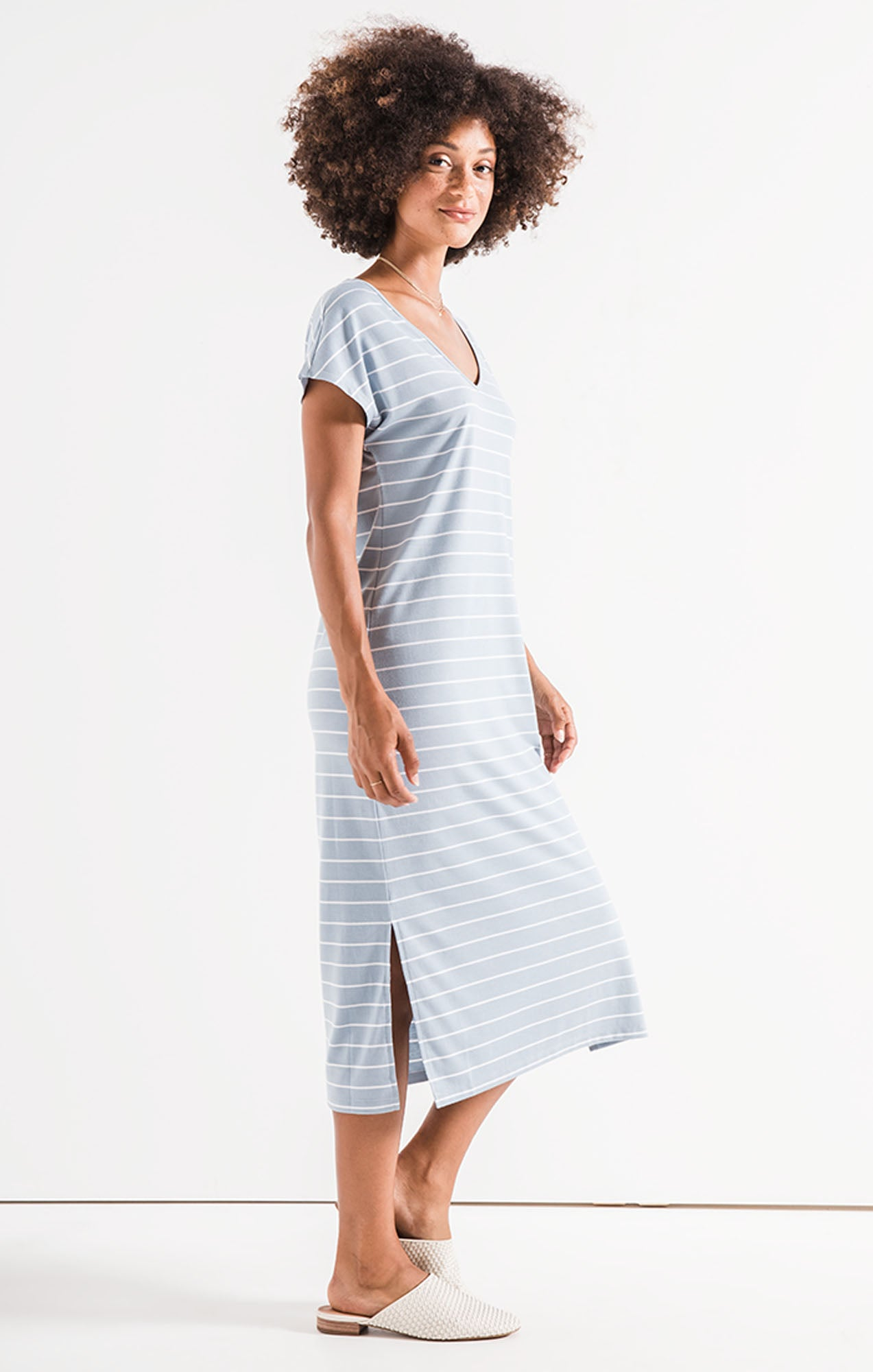 Dresses Stripe Midi Drop Dress Dusty Blue