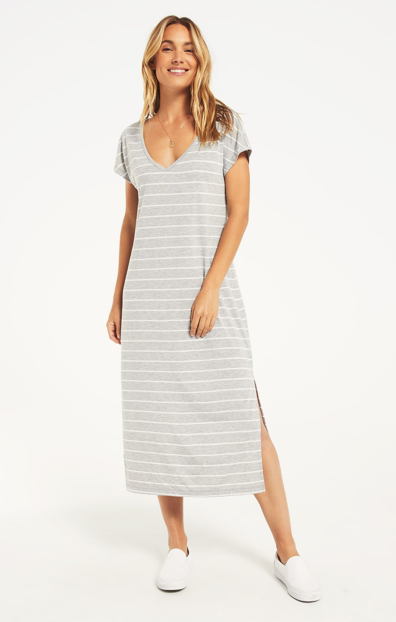 Dresses Stripe Midi Drop Dress Heather Grey
