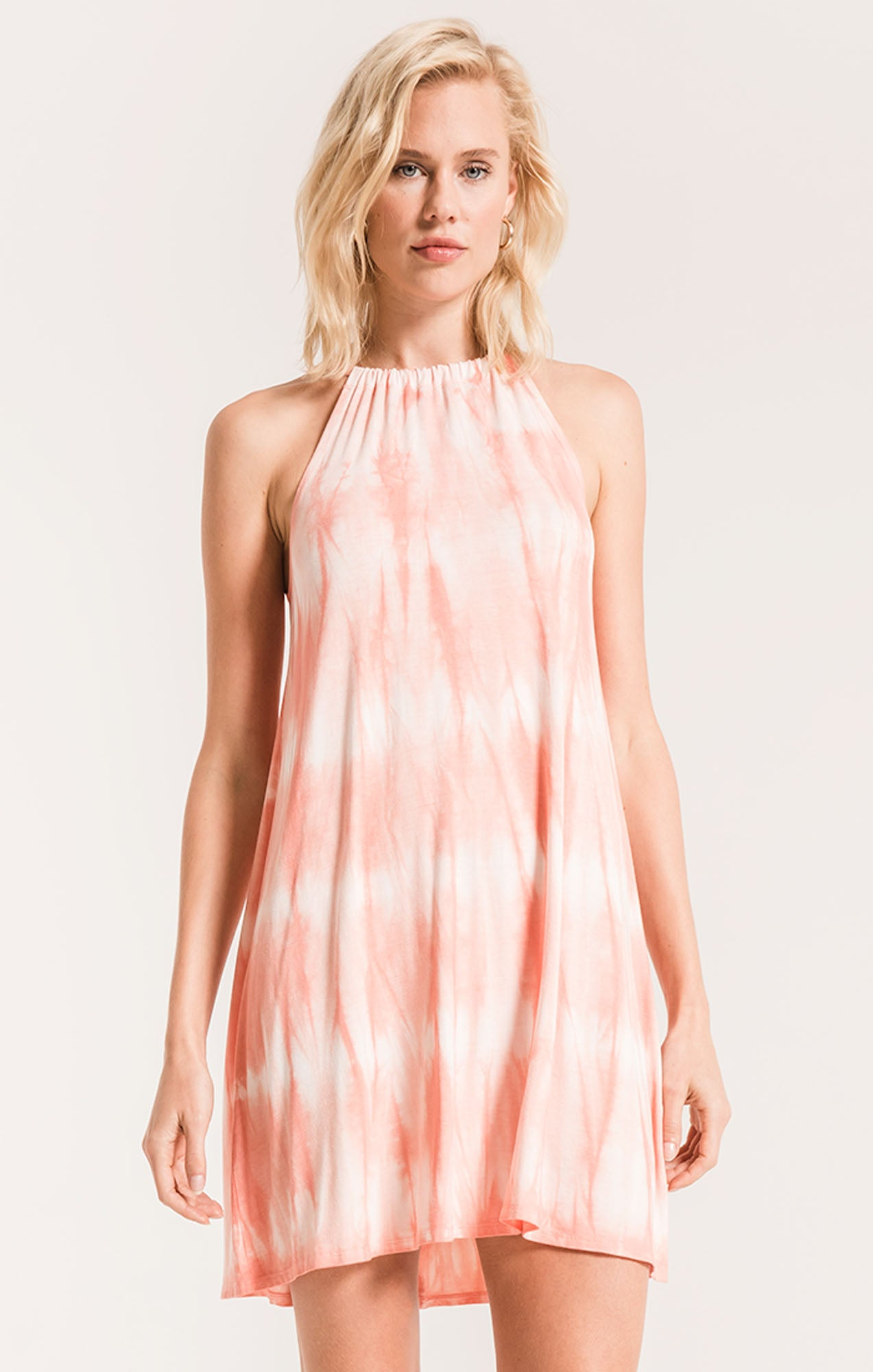 Dresses The Tie-Dye Halter Swing Dress Coral Haze