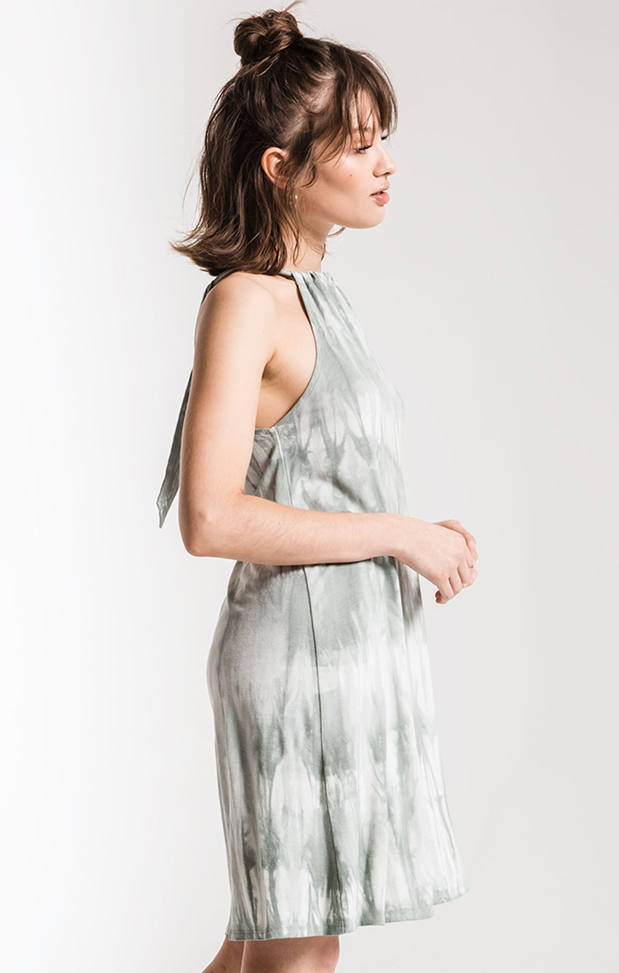 Dresses The Tie-Dye Halter Swing Dress Dusty Green