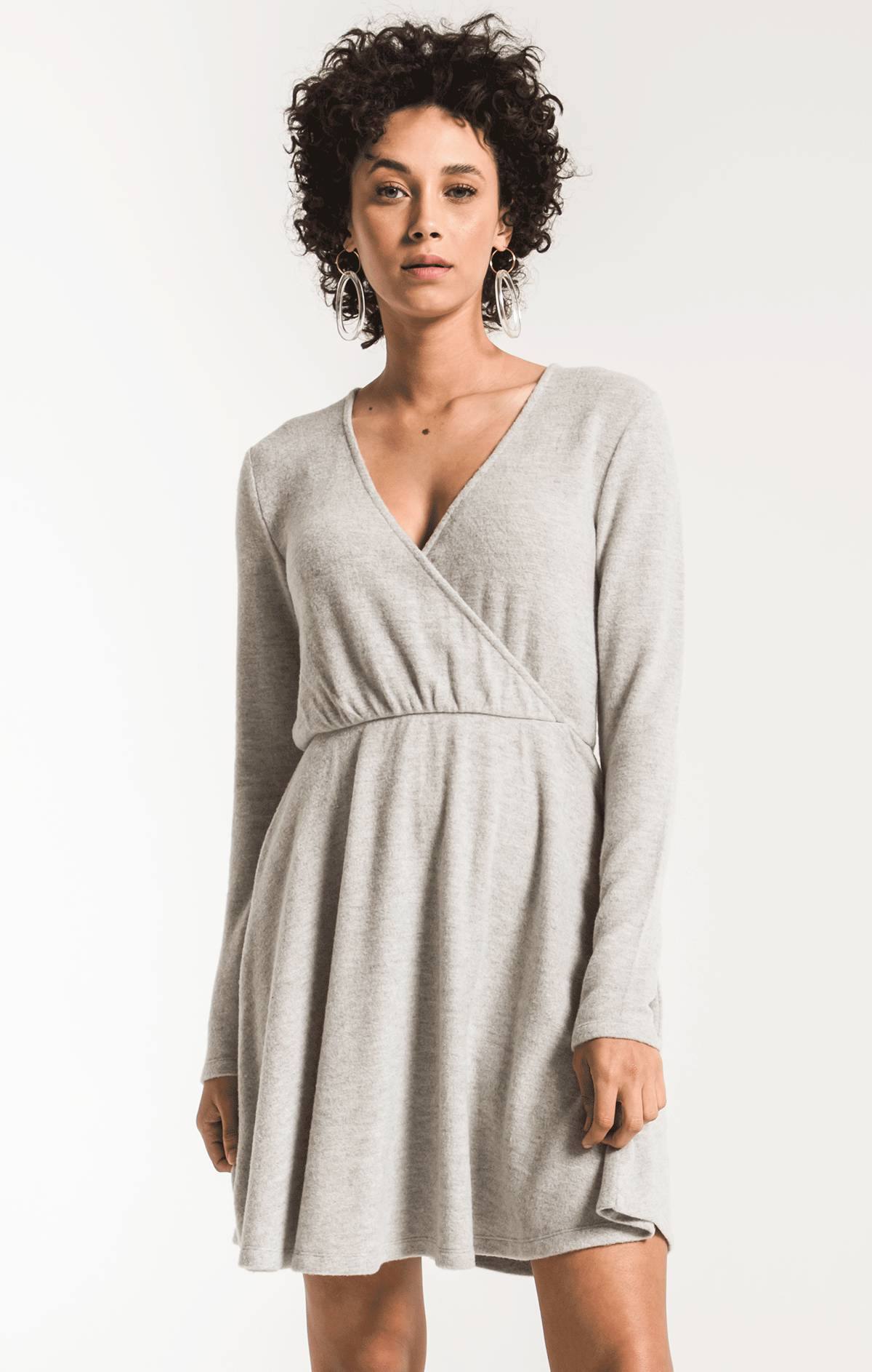 Dresses The Soft Spun Surplice Dress Heather Grey