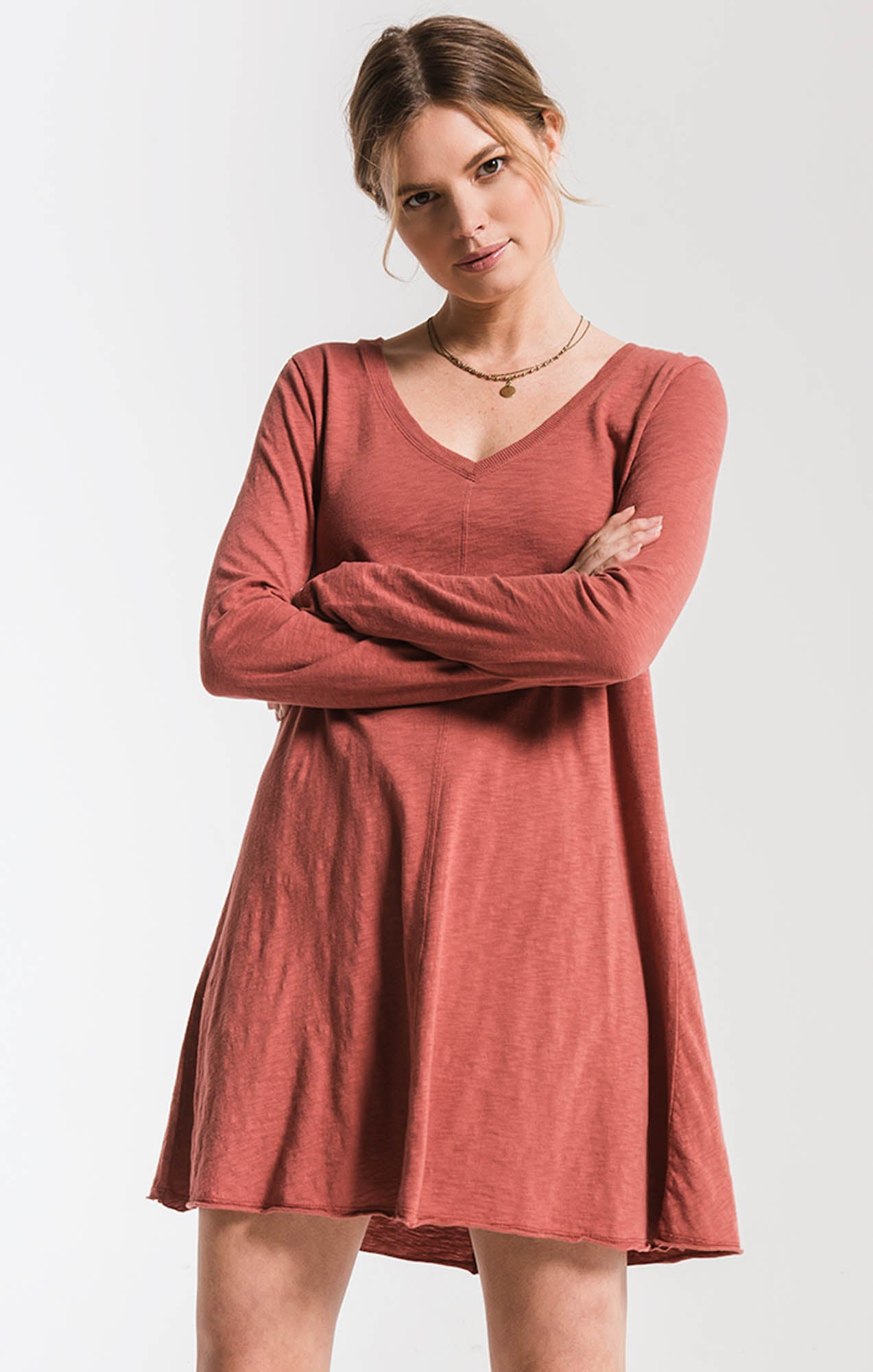 Tops Cotton Slub Clarington Dress Mesa Red
