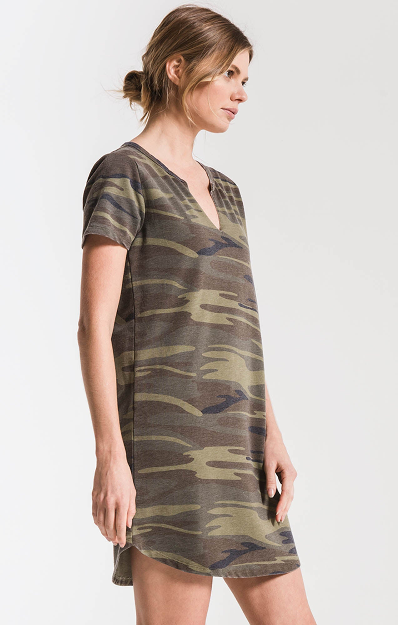 Dresses Camo Split Neck Dress Camo Green