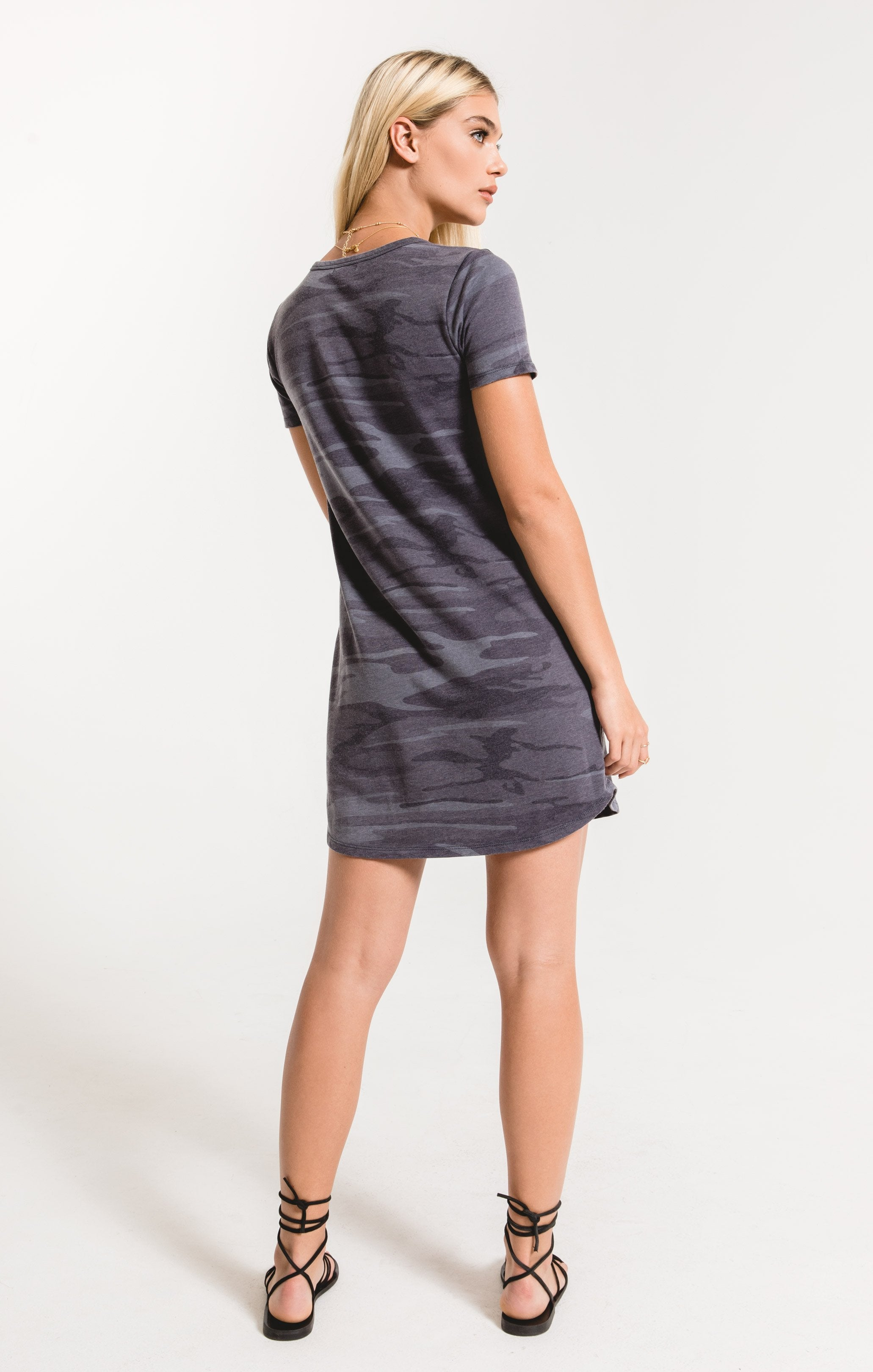 Dresses Camo Split Neck Dress Dark Blue Camo
