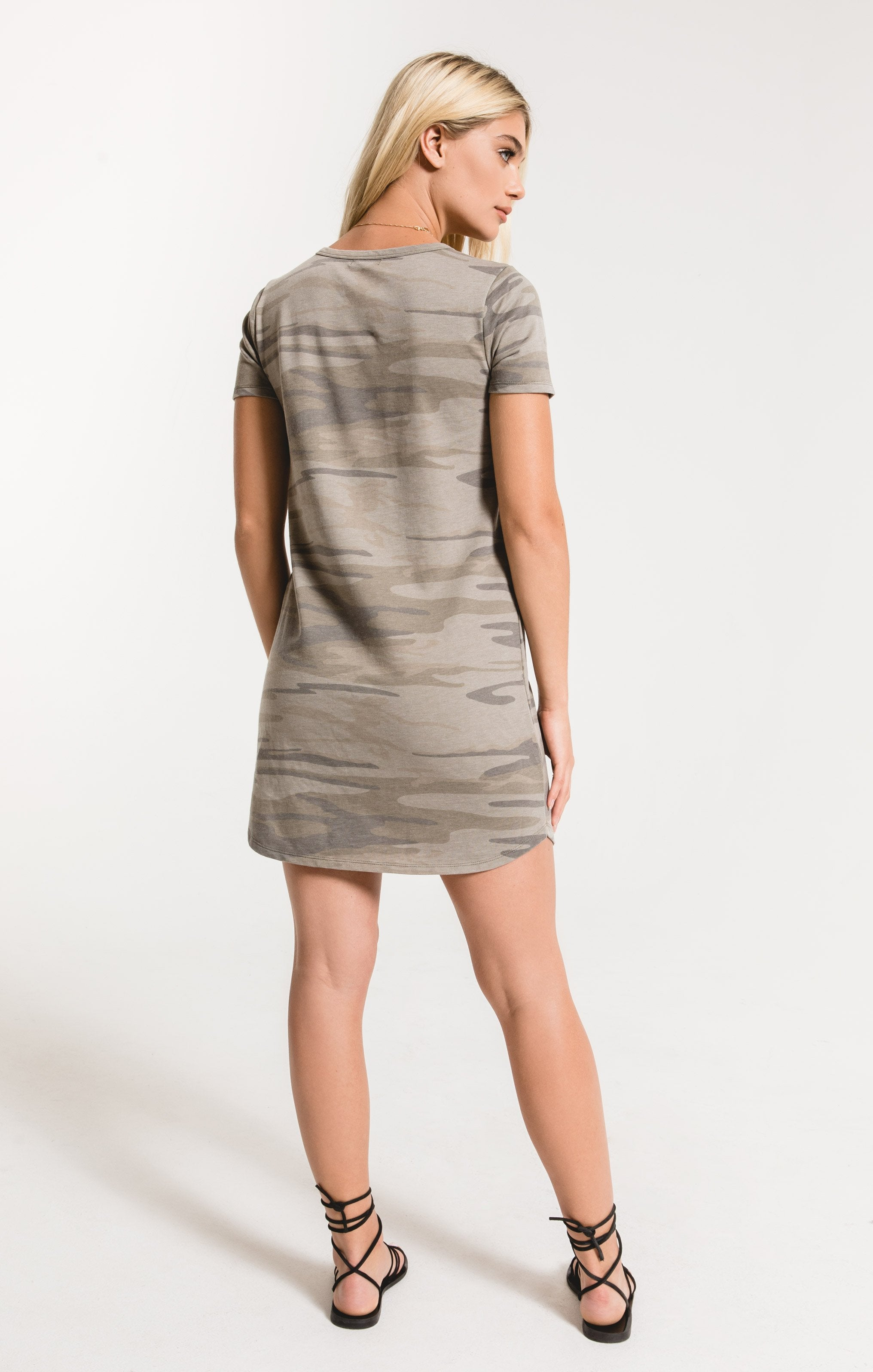 Dresses Camo Split Neck Dress Light Sage Camo