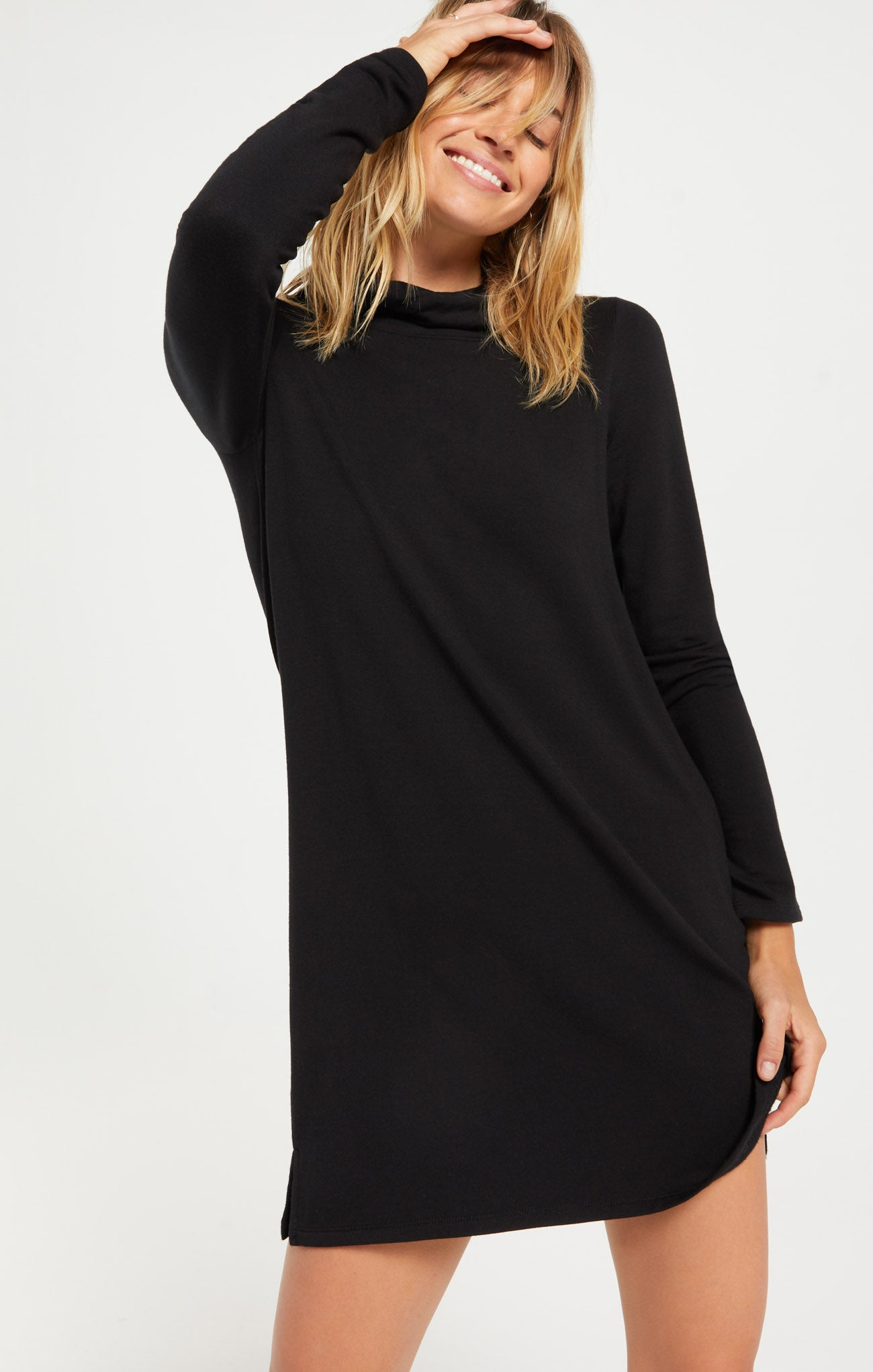Dresses The Premium Fleece Turtle Neck Dress Black