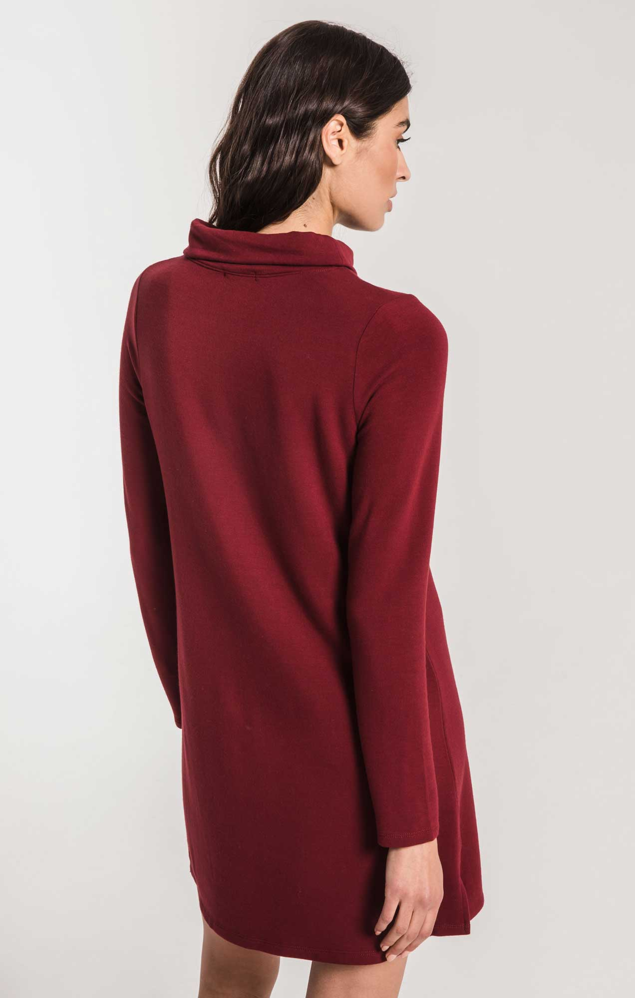 Dresses Premium Fleece Turtle Neck Dress Cabernet