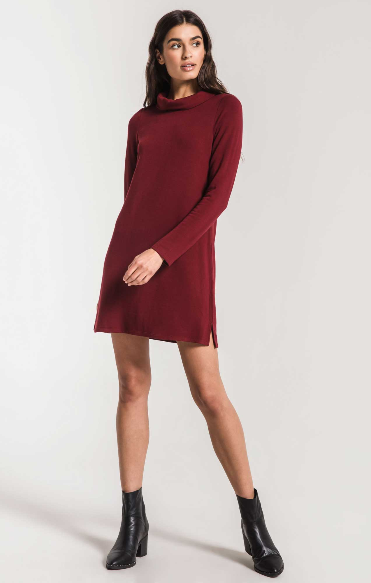 Dresses The Premium Fleece Turtle Neck Dress Cabernet