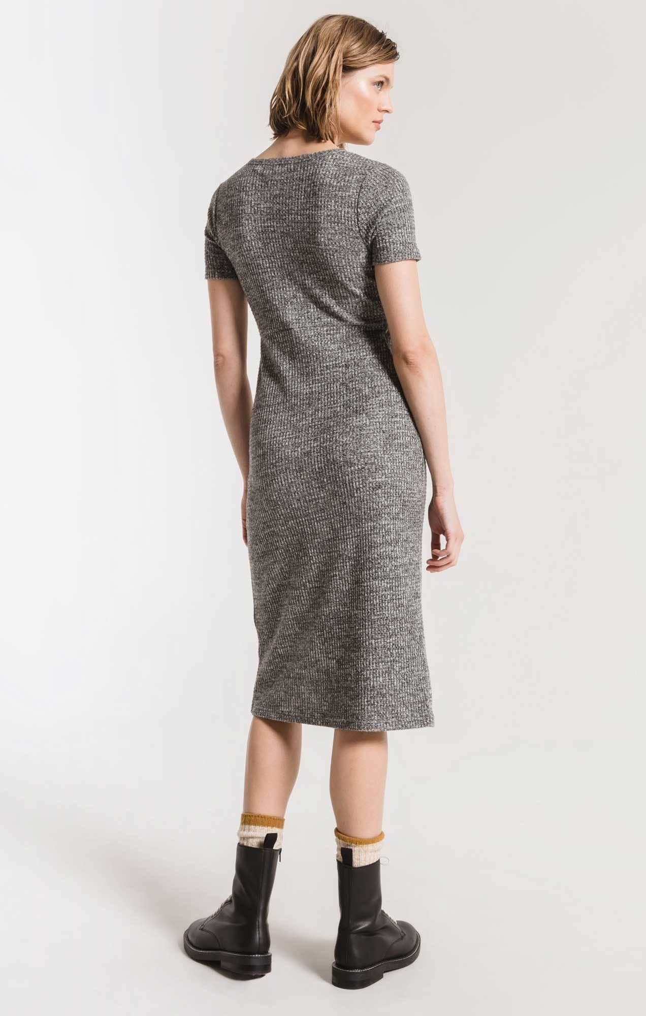 Dresses The Waffle Thermal Twist Front Dress Black