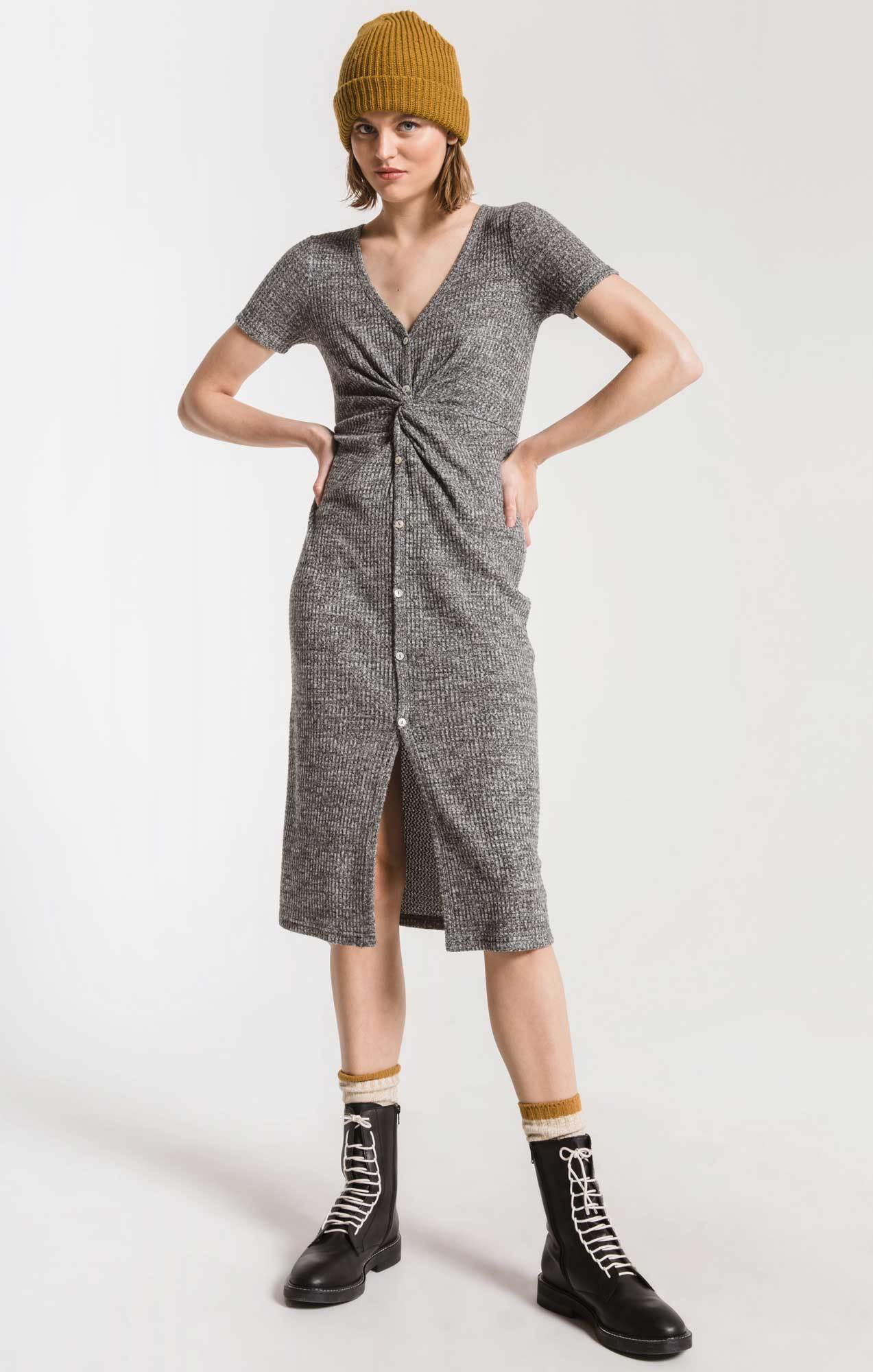 Dresses Waffle Thermal Twist Front Dress Black