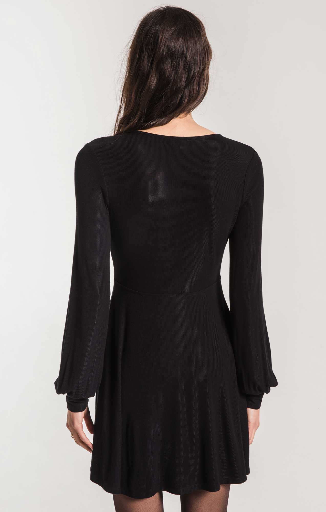 Dresses Micro Rib Long Sleeve Dress Black