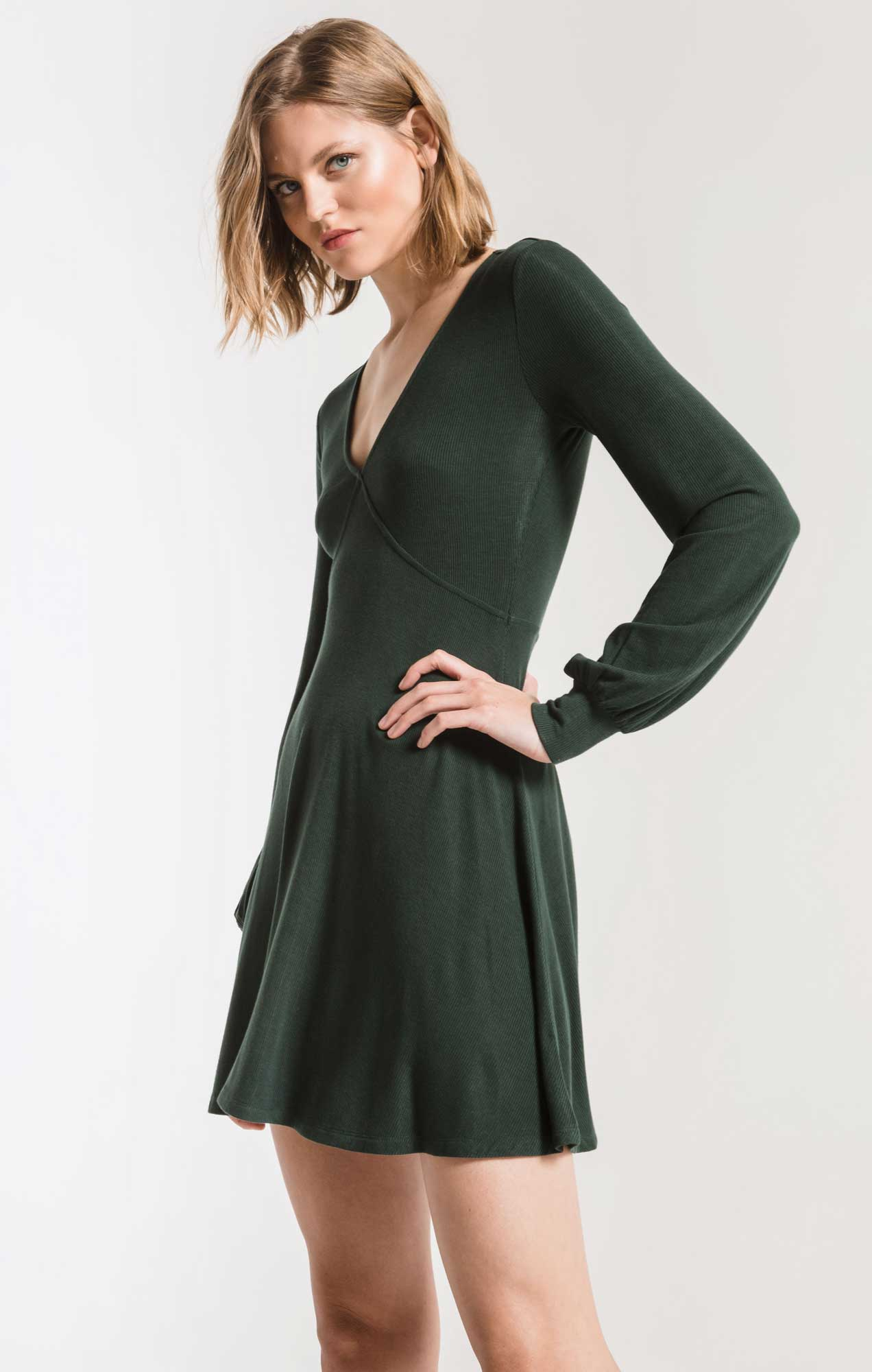 Dresses Micro Rib Long Sleeve Dress Pine Grove
