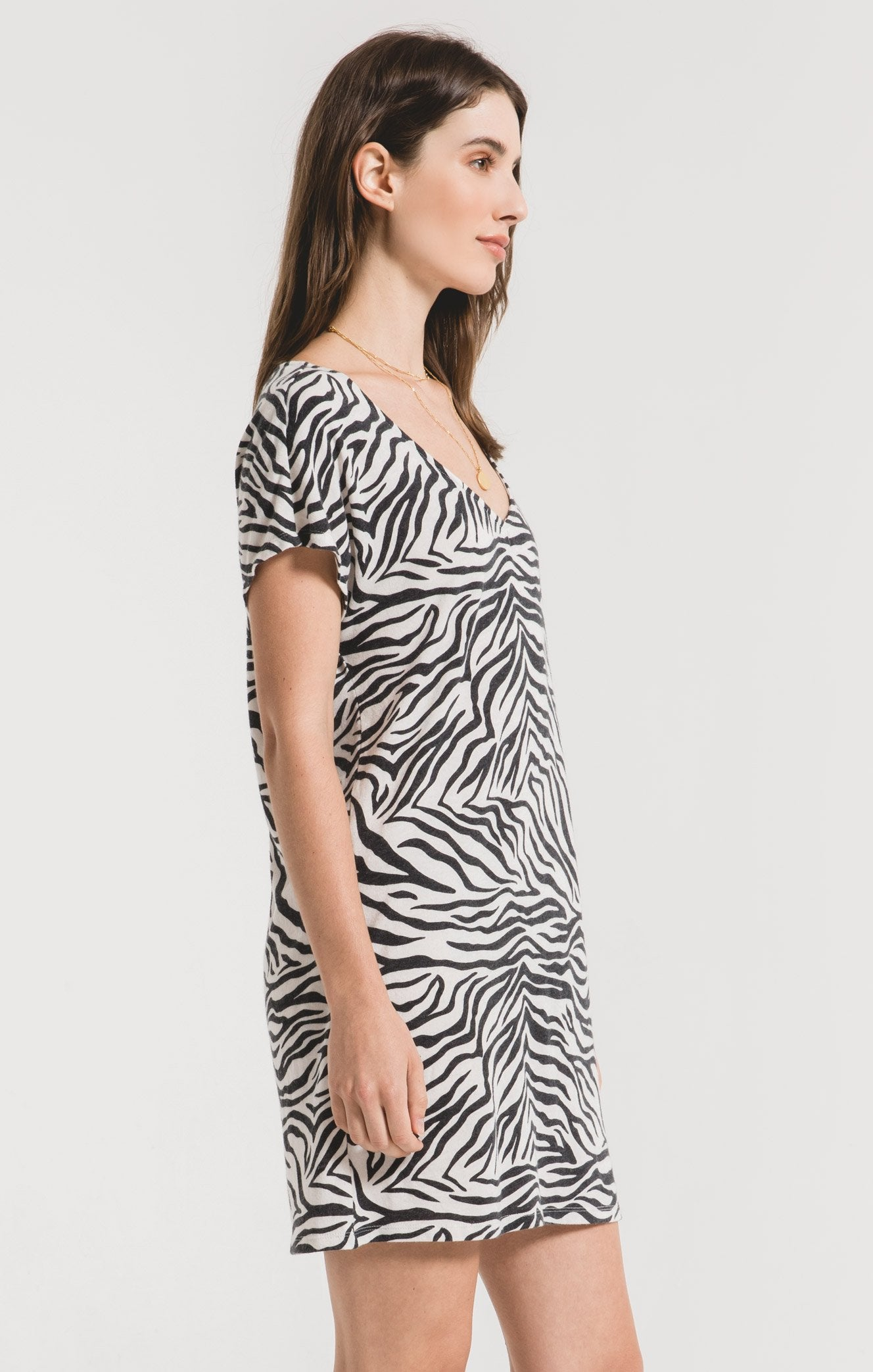 Dresses Zebra V-Neck Tee Dress Champagne Mist