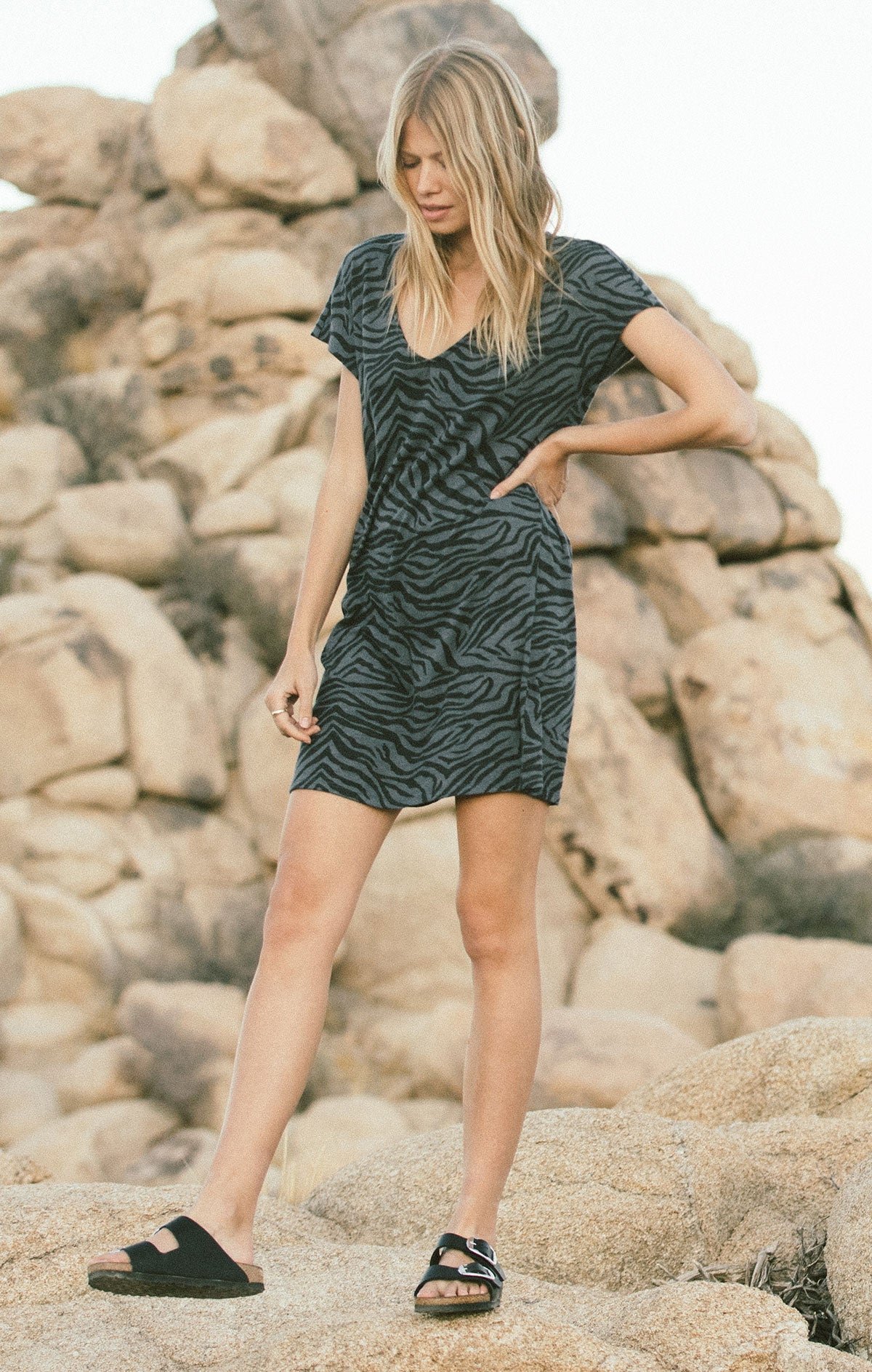 Dresses Zebra V-Neck Tee Dress Ombre Blue