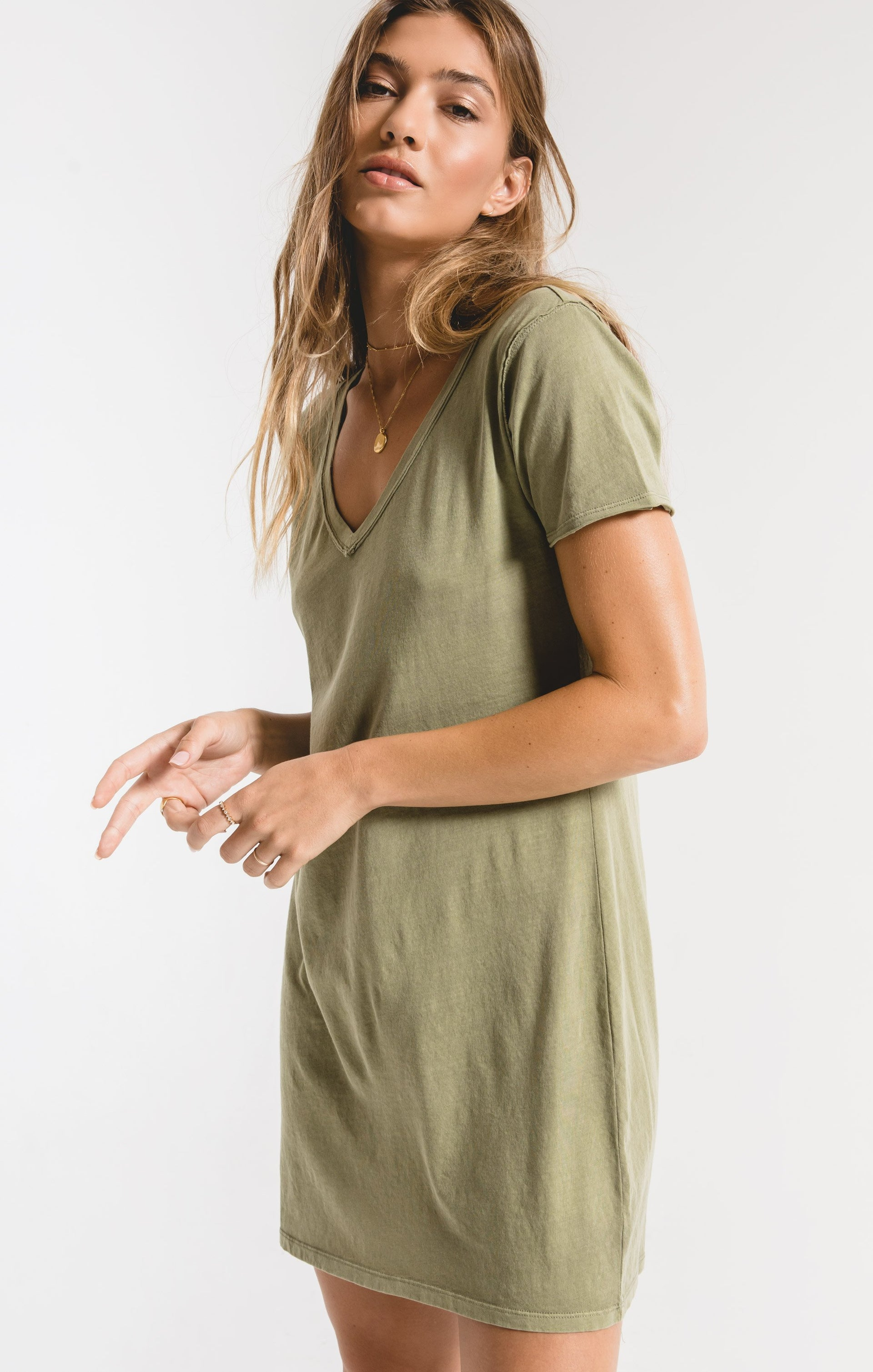 Dresses Organic Cotton T-Shirt Dress Light Sage