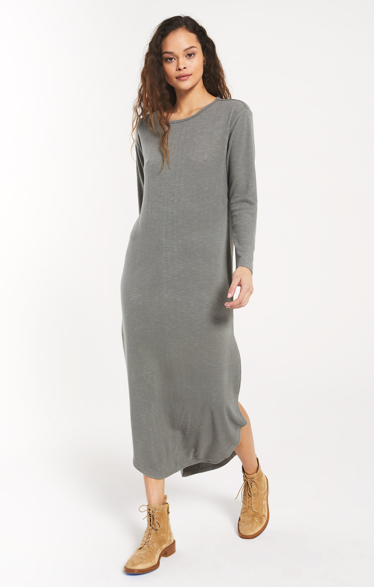 Dresses Ray Slub Sweater Dress Ash Green