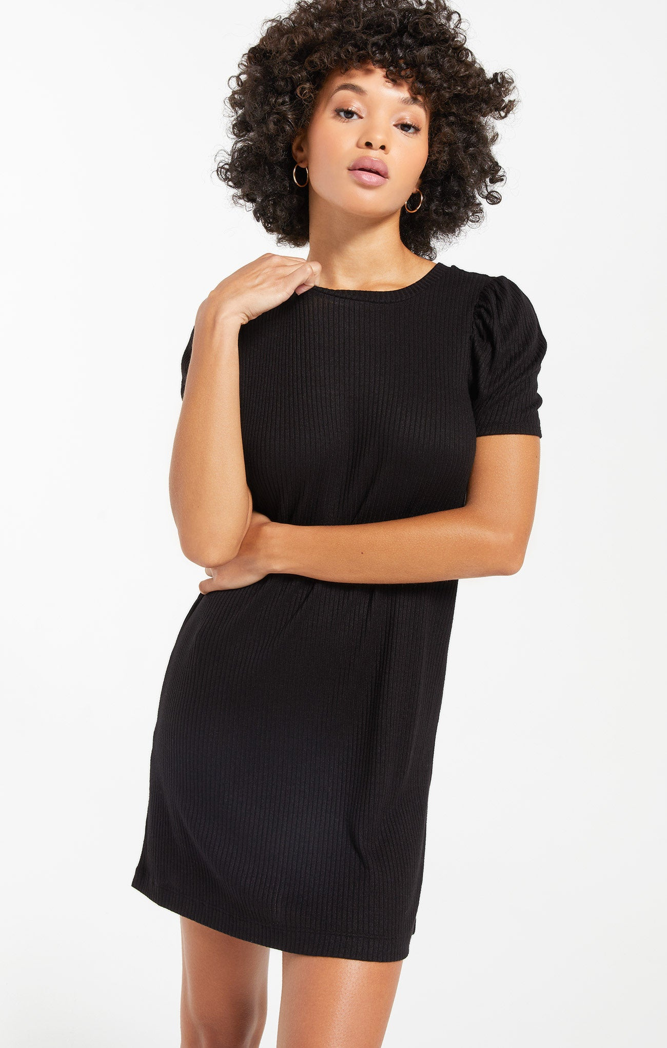 Dresses Kamryn Puff Sleeve Rib Dress Black