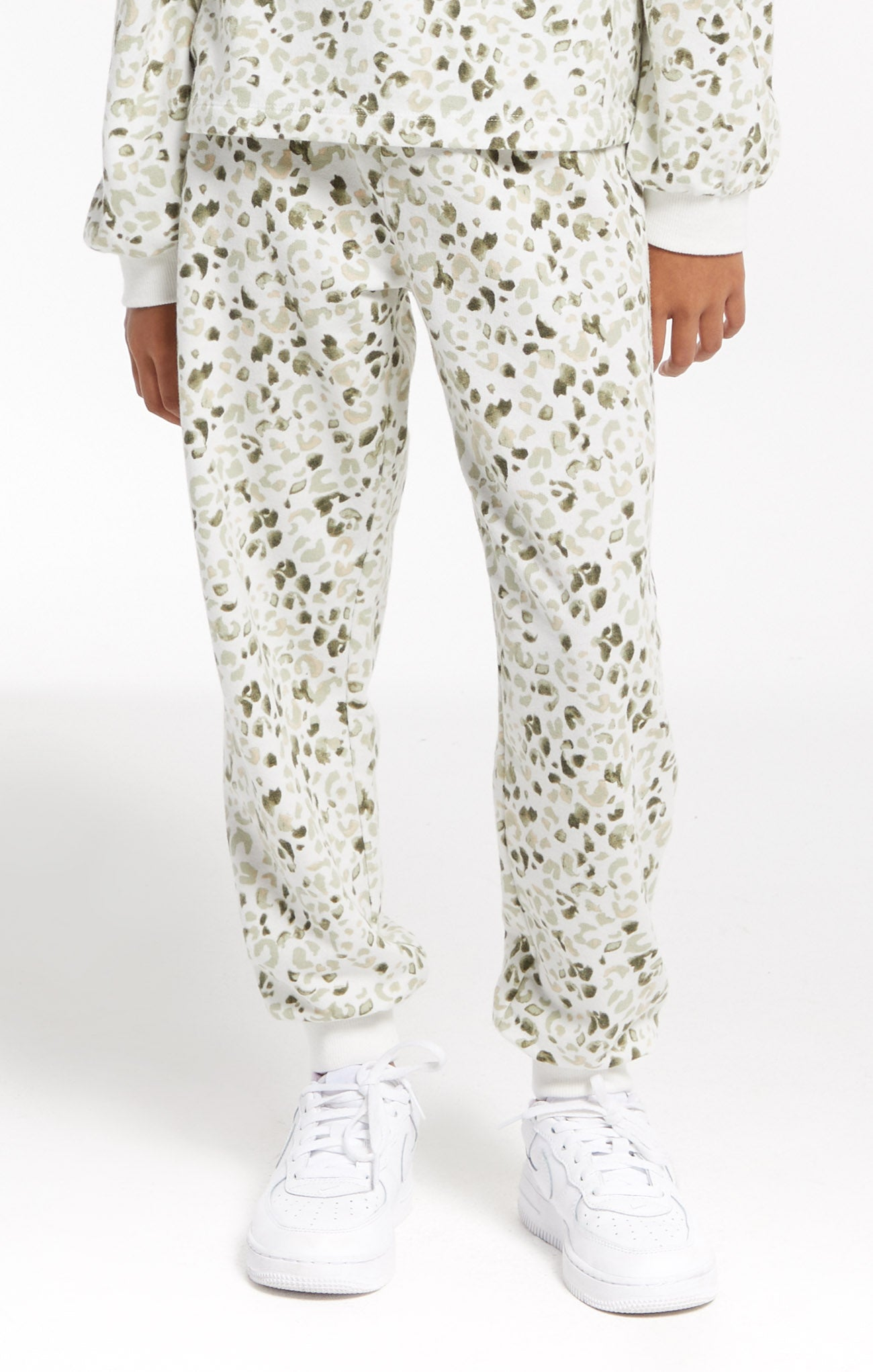 Pants Girls Ava Painted Leopard Jogger Cloud Dancer