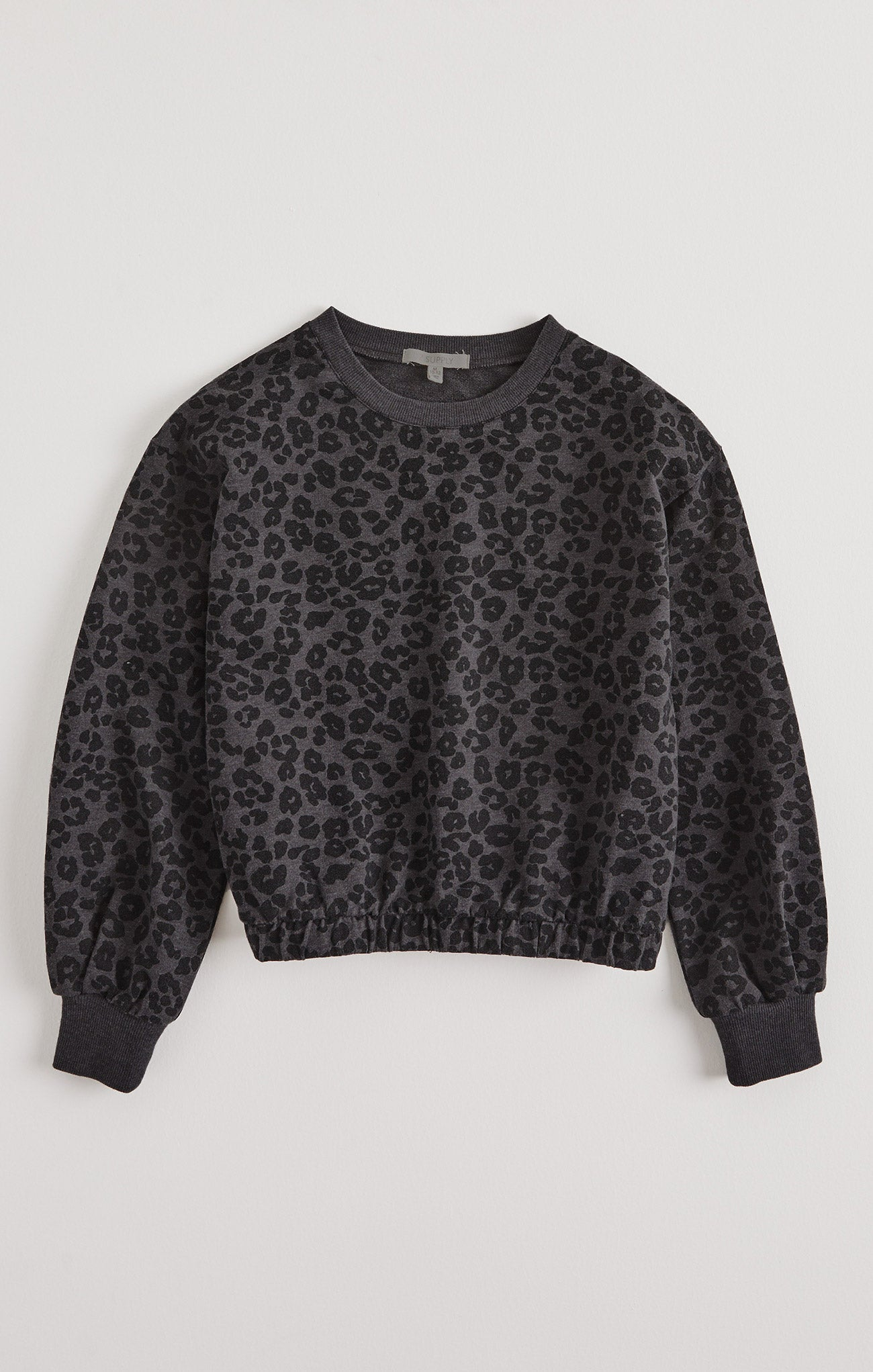 Tops Girls Carmen Leopard Sweatshirt Black