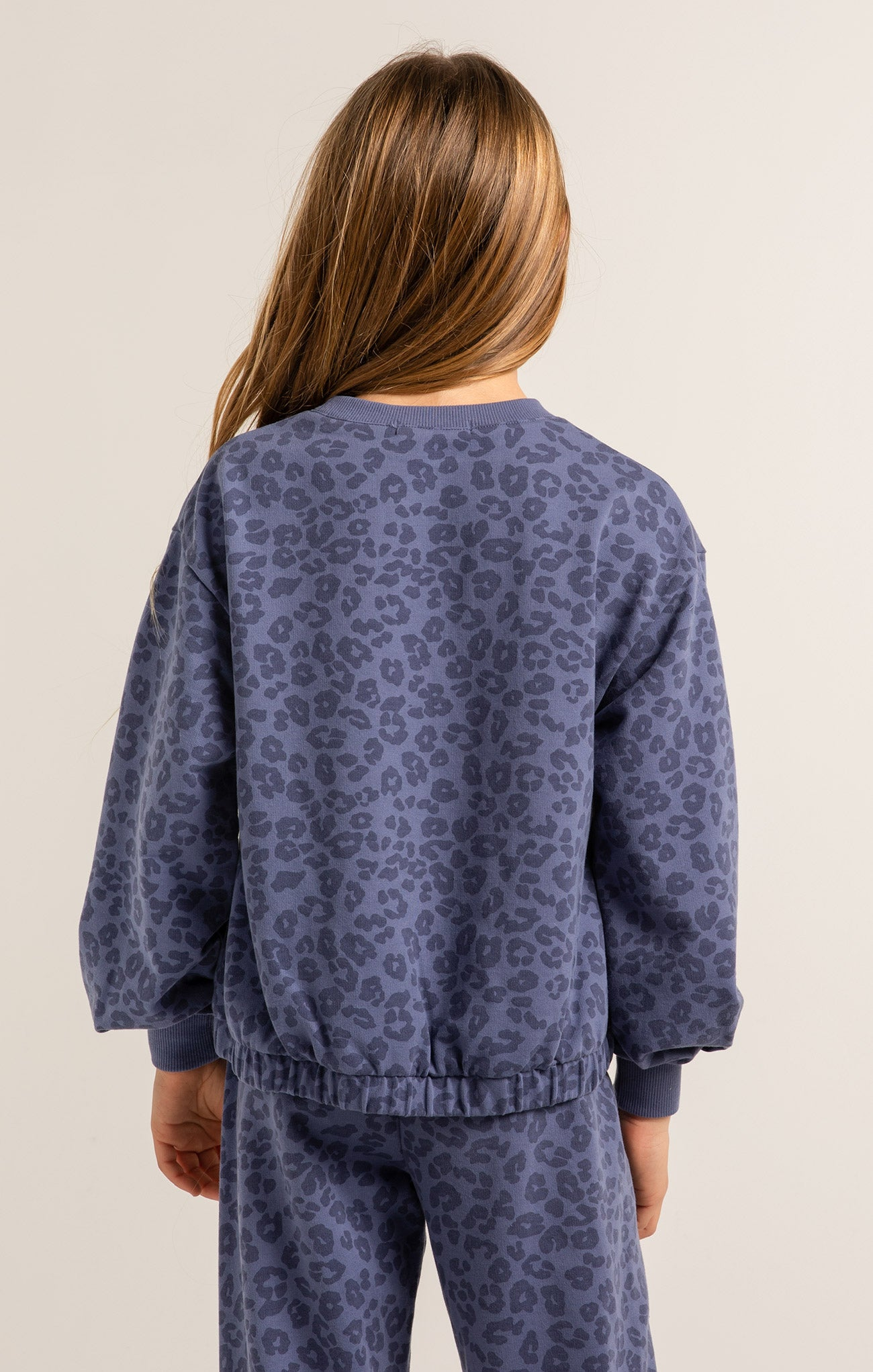 Tops Girls Carmen Leopard Sweatshirt Vintage Blue