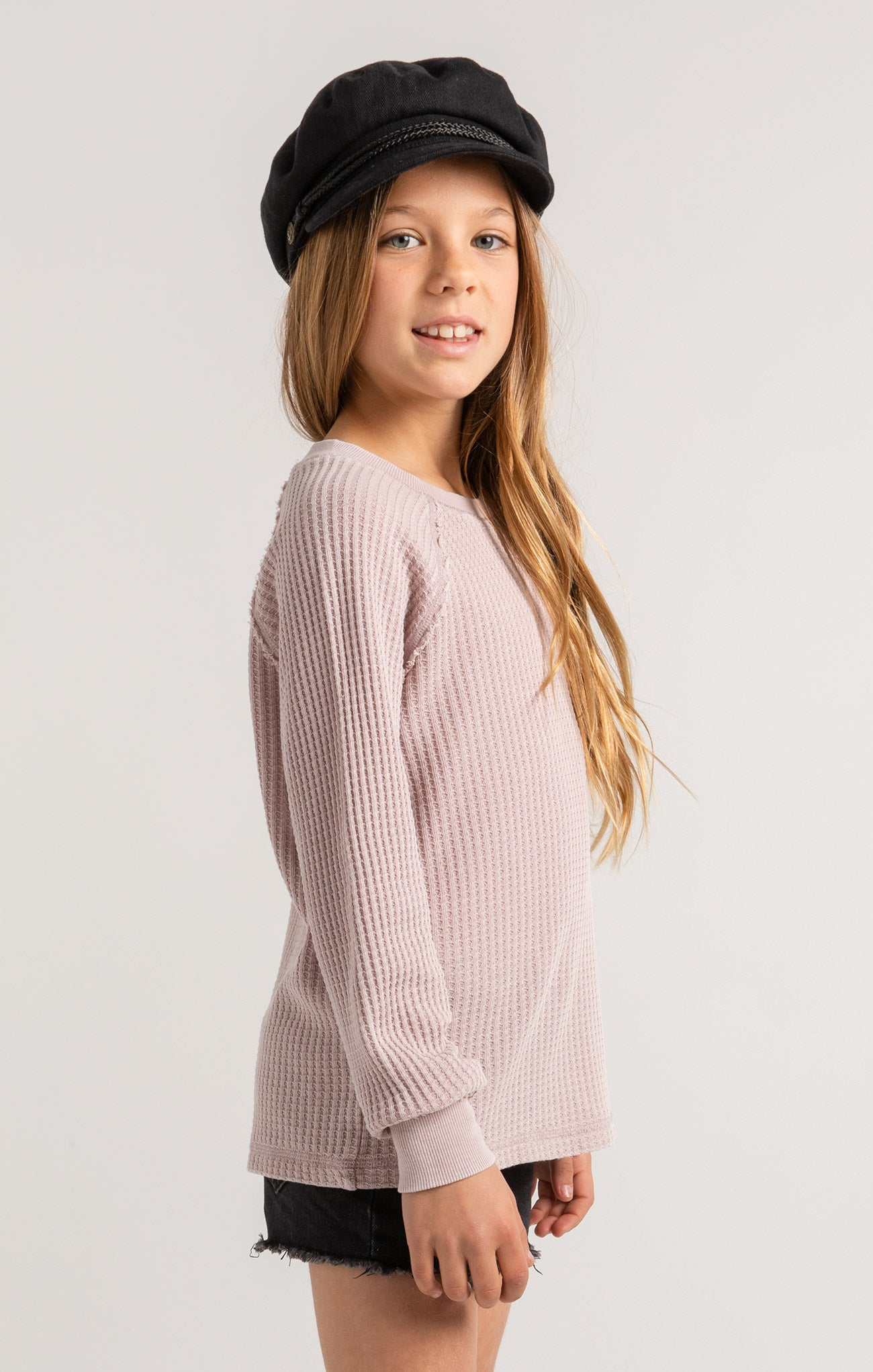 Tops Girls Reagan Waffle Long Sleeve Amethyst