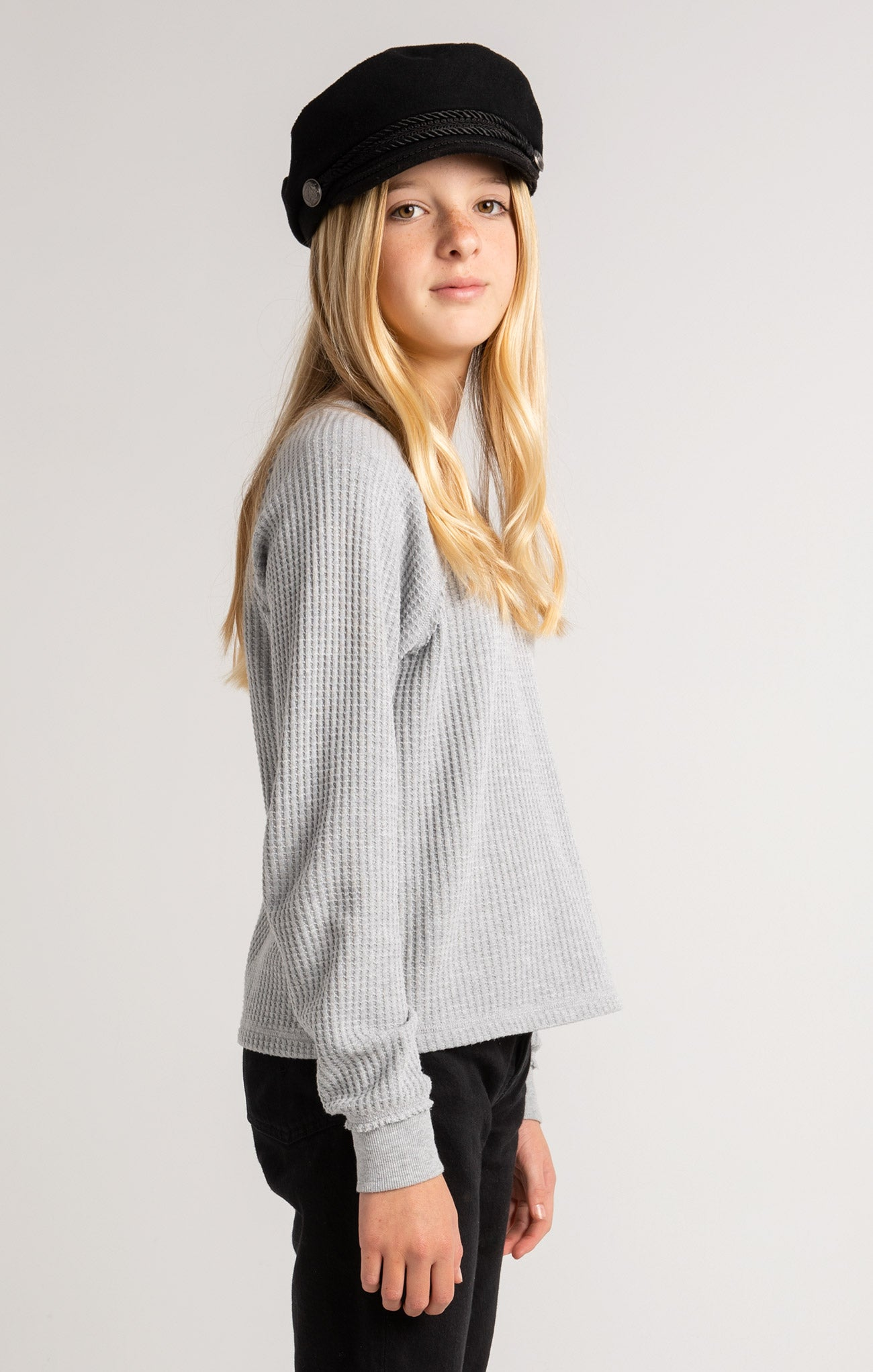Tops Girls Reagan Waffle Long Sleeve Heather Grey