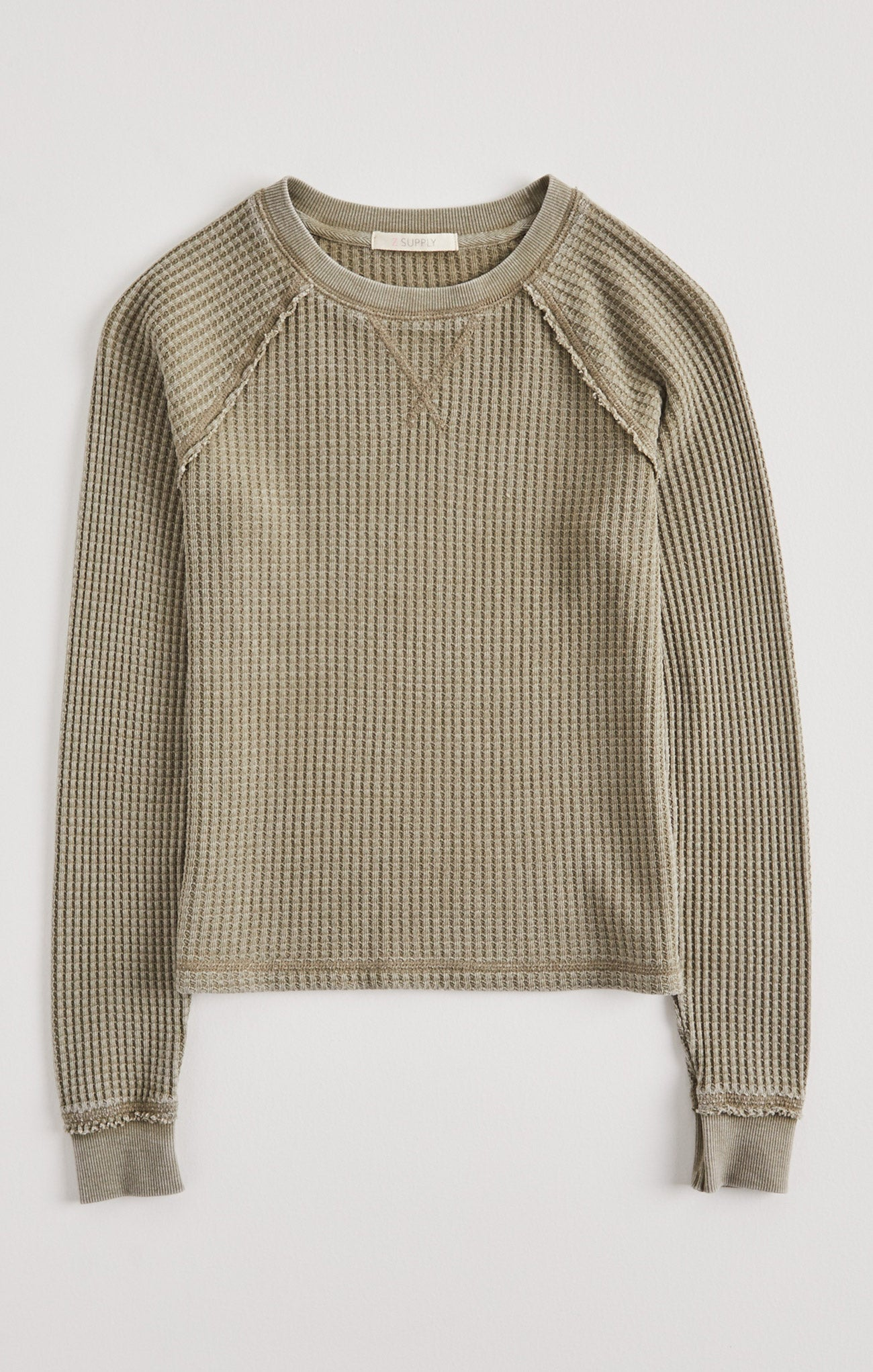 Tops Girls Reagan Waffle Long Sleeve Washed Olive