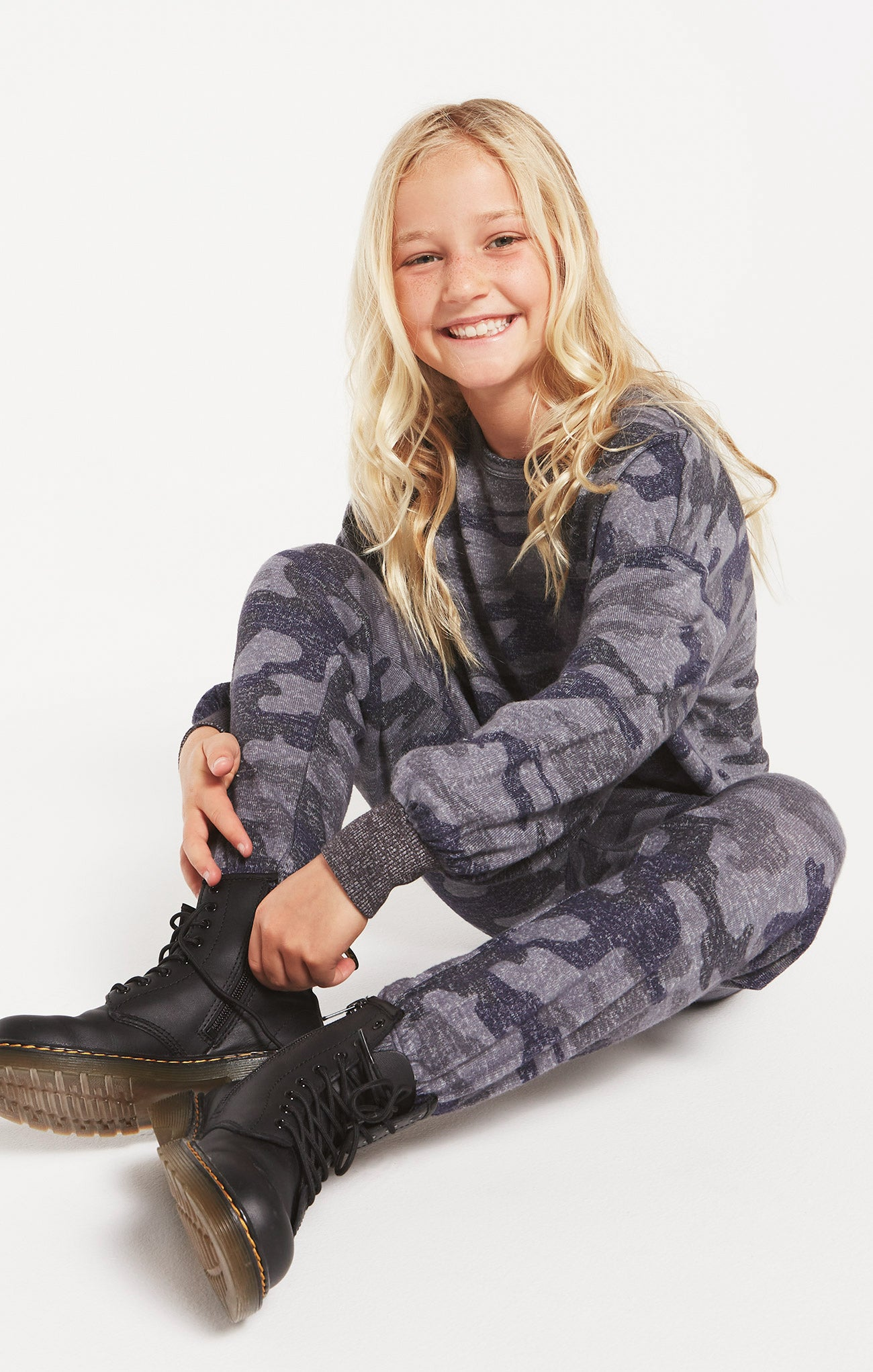 Tops Girls Mayori Camo Marled Long Sleeve Camo Onyx