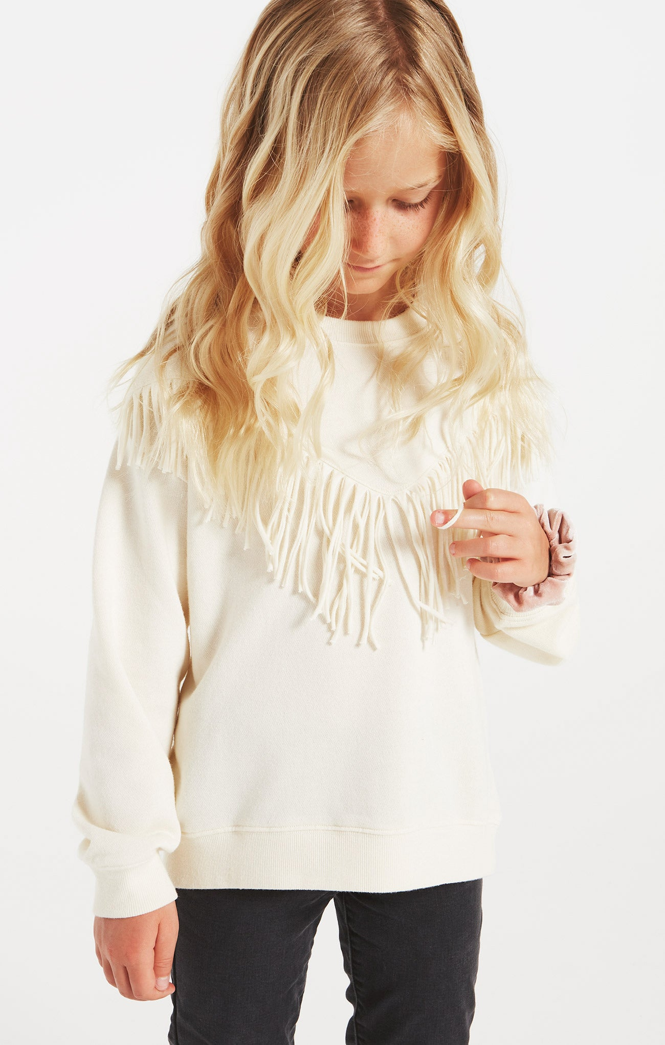 Tops Girls River Fringe Top Bone