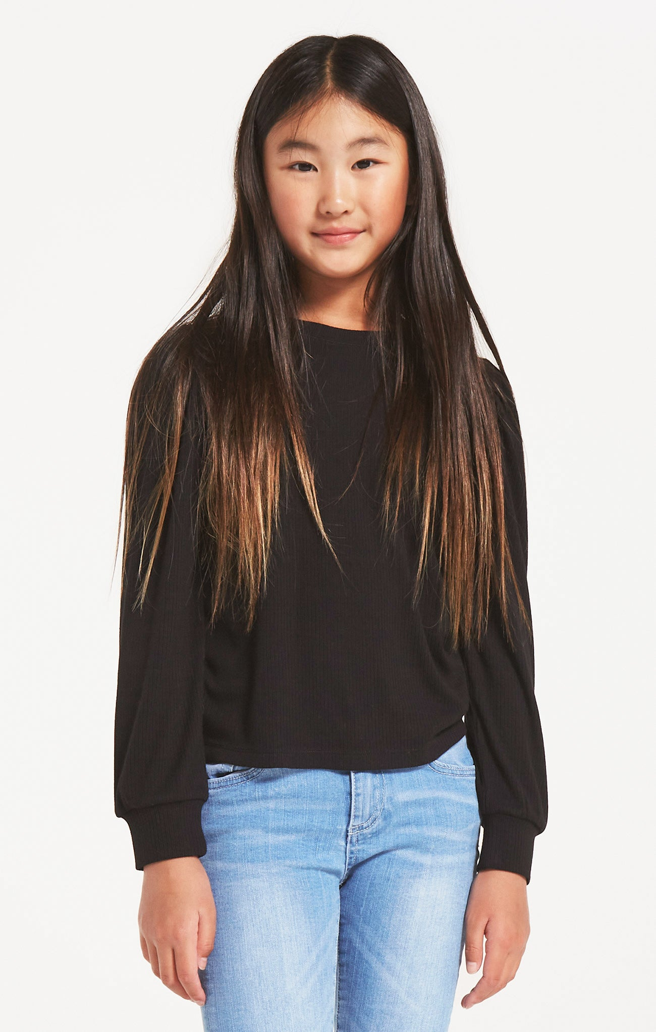 Tops Girls Sasha Puff Top Black